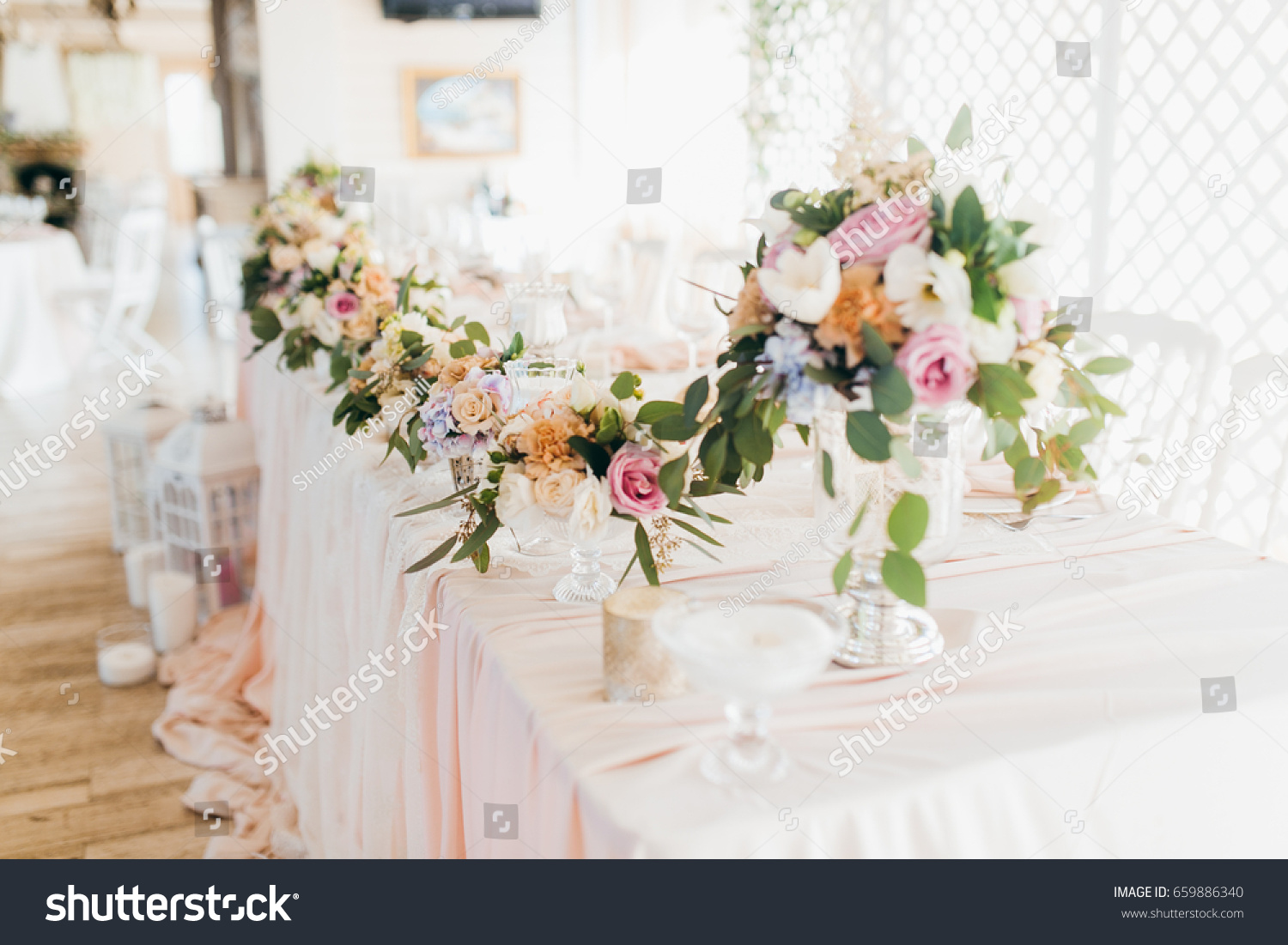 Pink Wedding Decoration With White And Green Flowers Ez Canvas