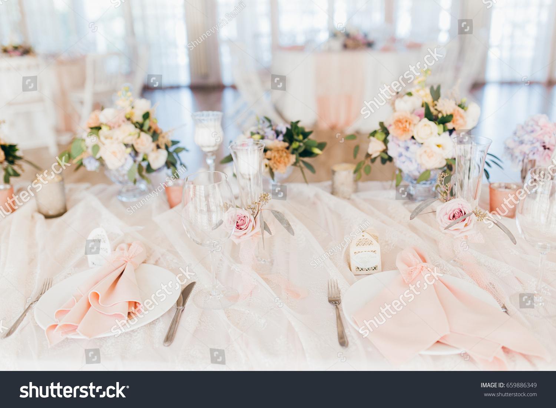 Pink Wedding Decoration White Green Flowers Stock Photo Edit Now
