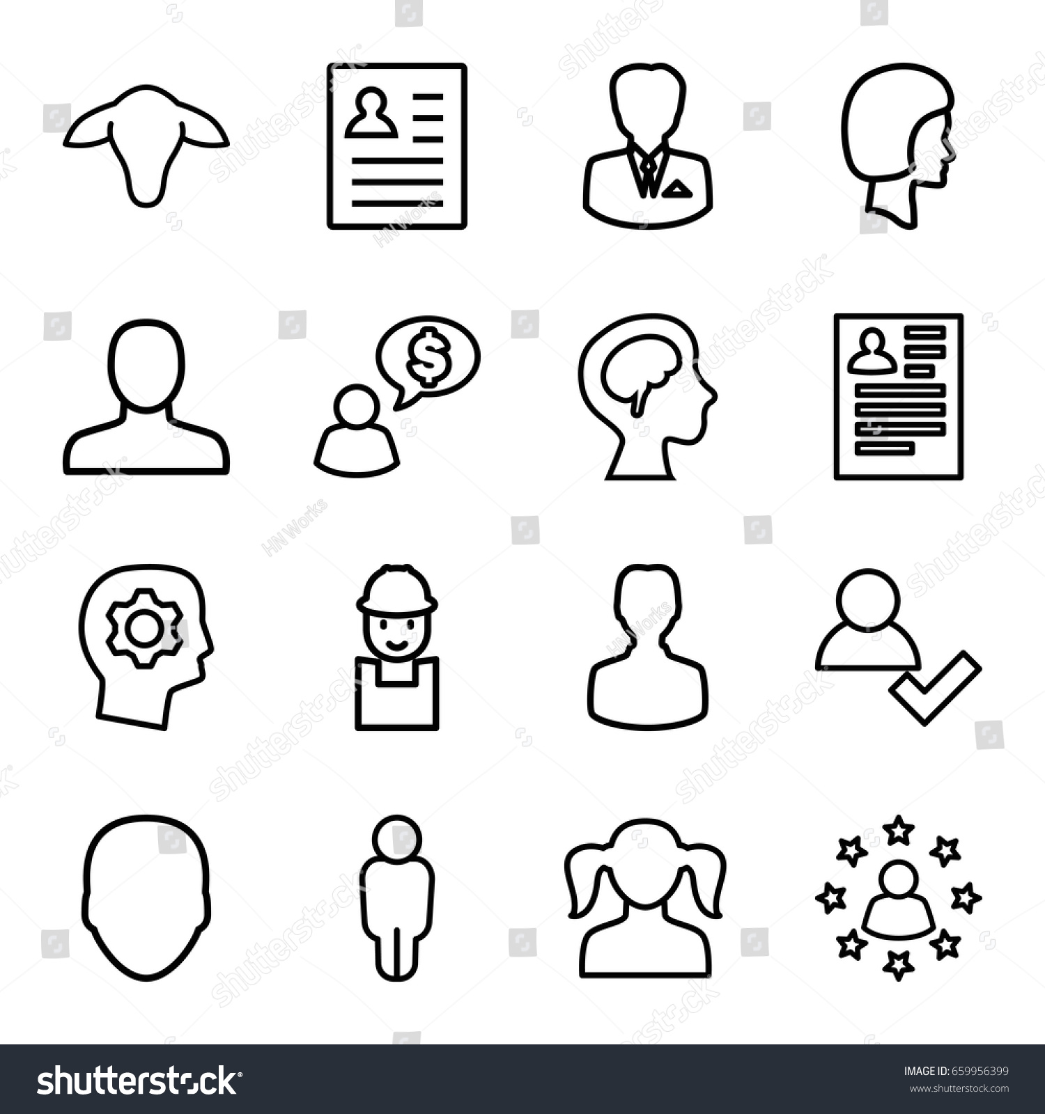 set 16 profile outline icons such stock vector 659956399