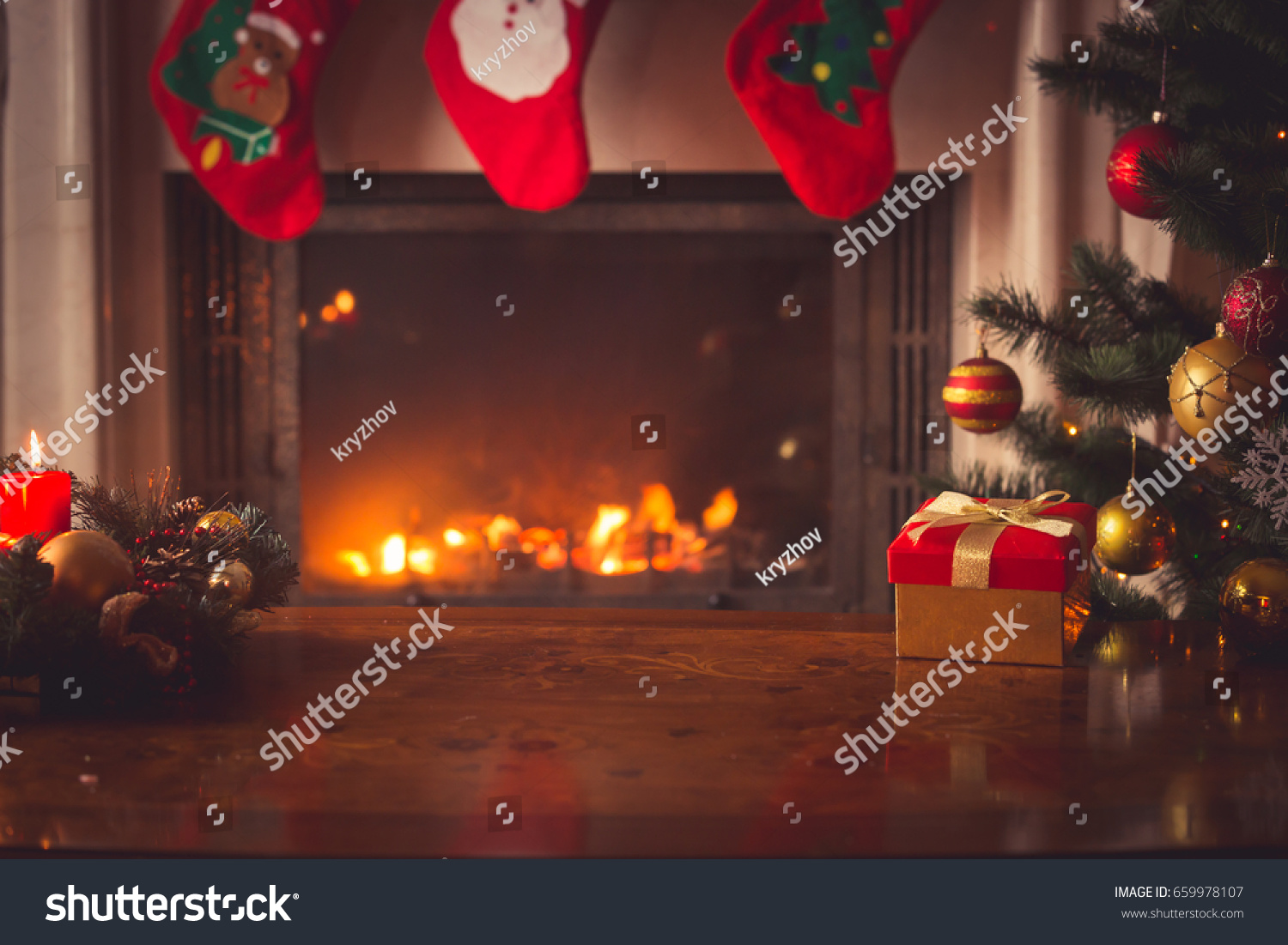 closeup red christmas gift box golden stock photo 659978107
