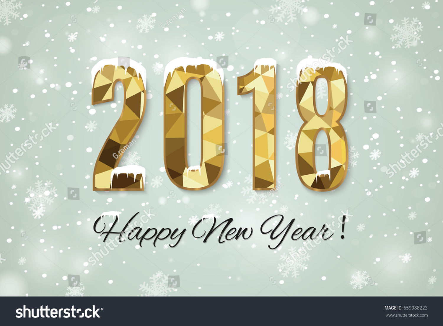 2018 Happy New Year Snow Backgroundmerry Stock Vector (Royalty Free ...