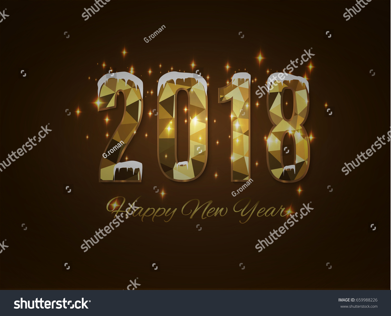 2018 happy new year snow background.merry Christmas. #659988226