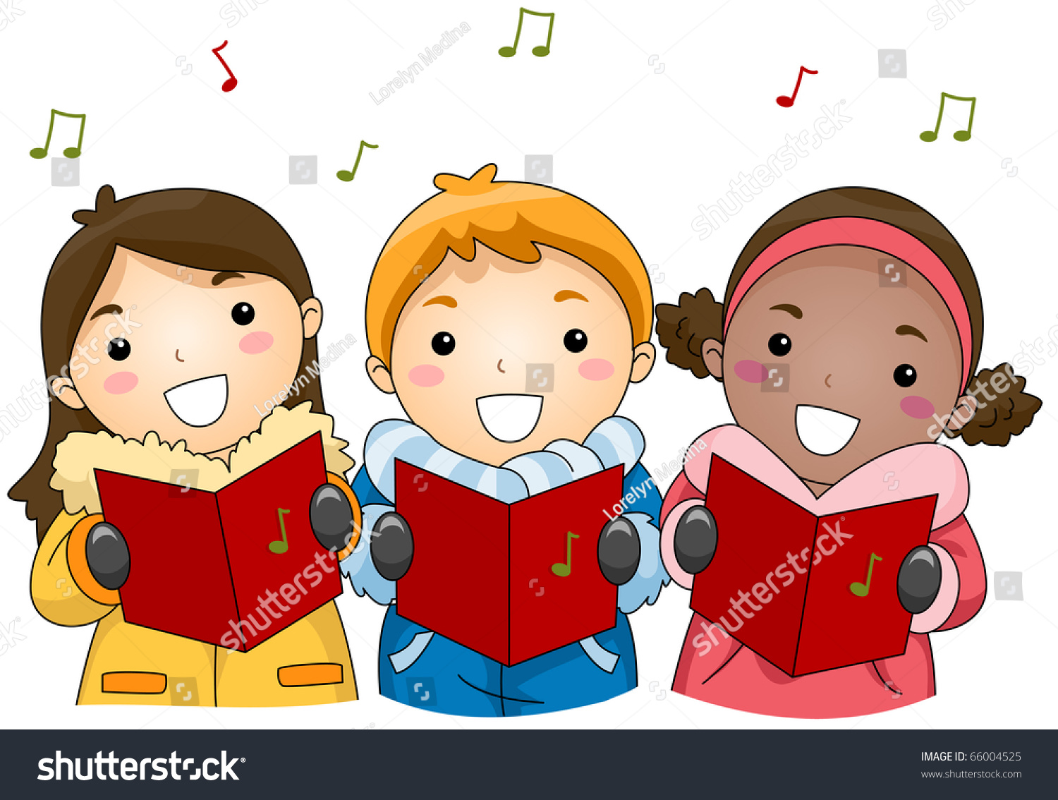 Illustration Kids Singing Christmas Carols Stock Vector (Royalty ...