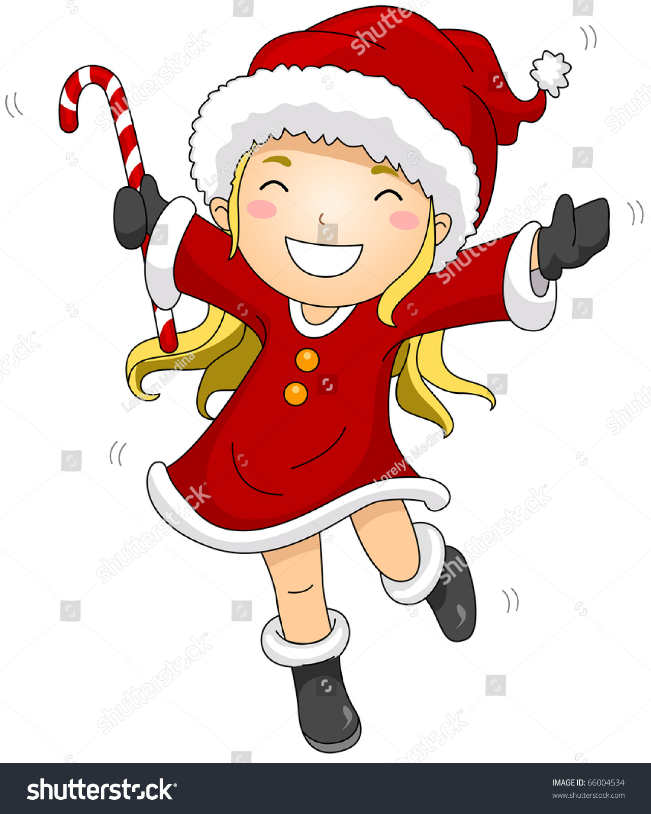 Illustration girl dressed santa claus costume stock vector