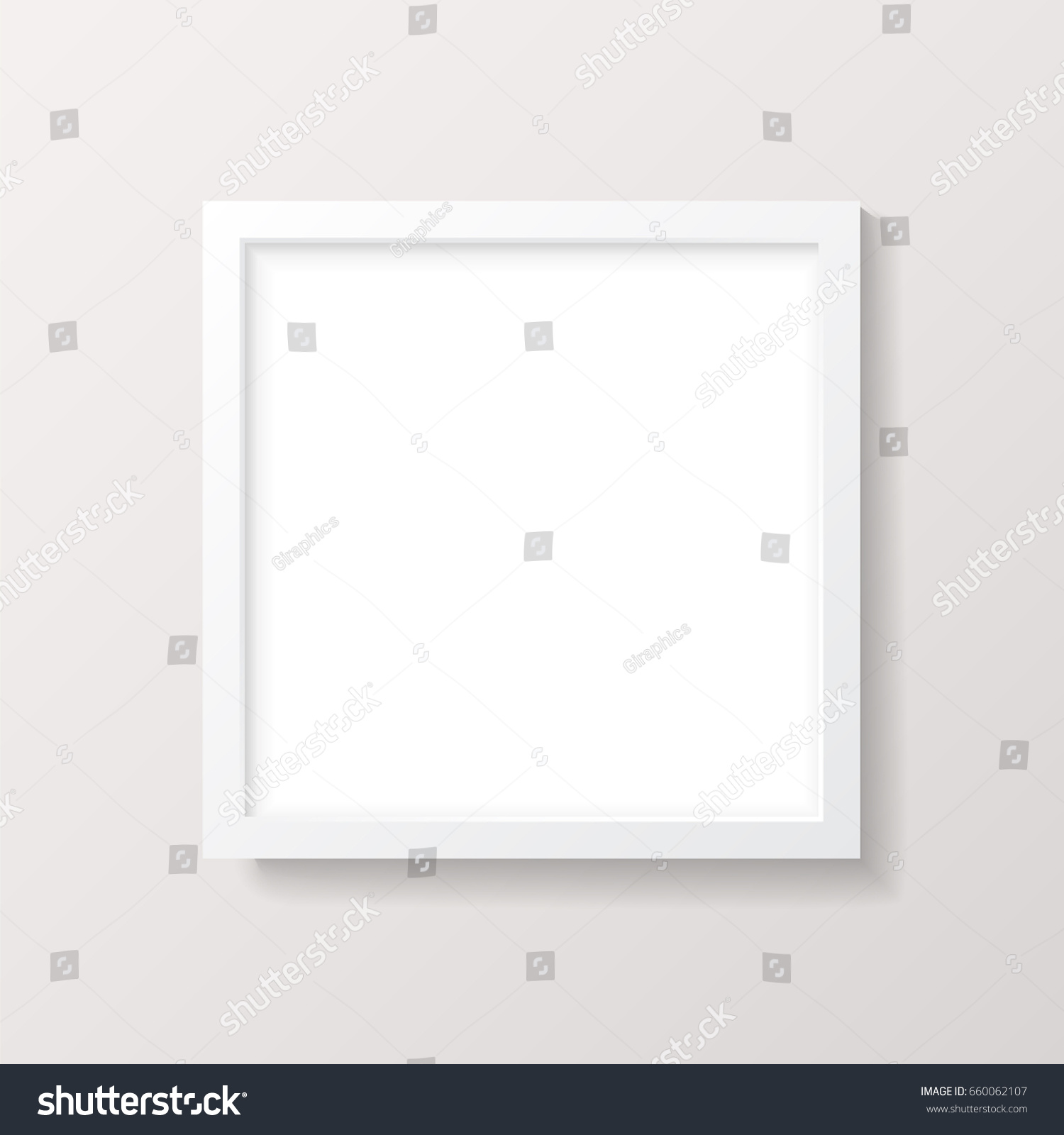 Realistic Empty White Square Picture Frame Stock Vector (Royalty ...