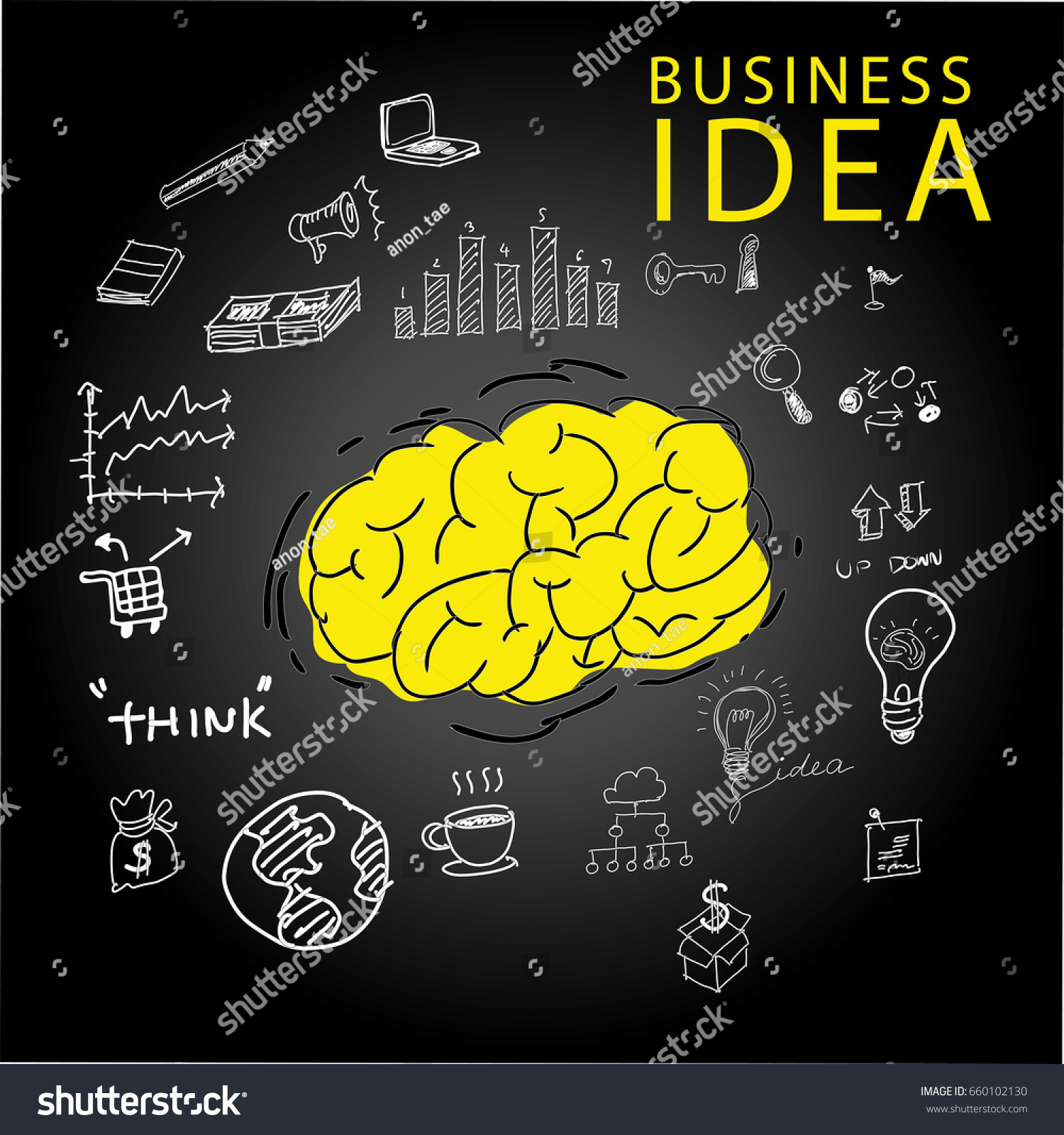Free hand sketch business idea brain stock vector 660102130 free hand sketch business idea brain symbol of ideaslor icon biocorpaavc Images