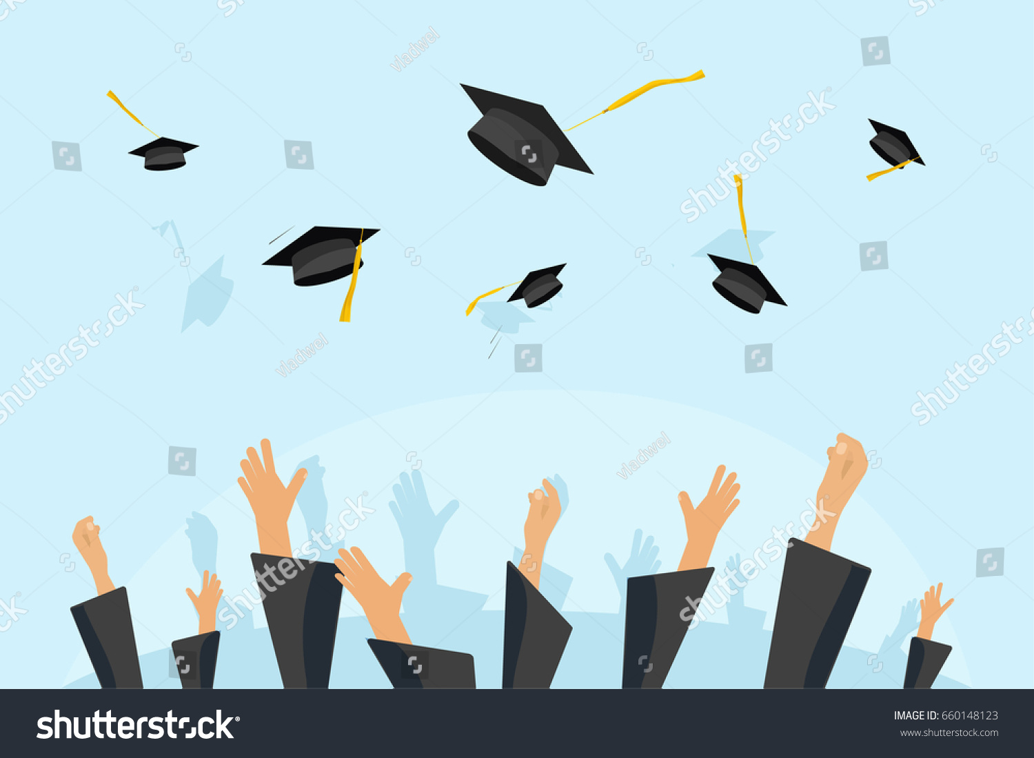 Graduating Students Pupil Hands Gown Throwing Stock Illustration ...