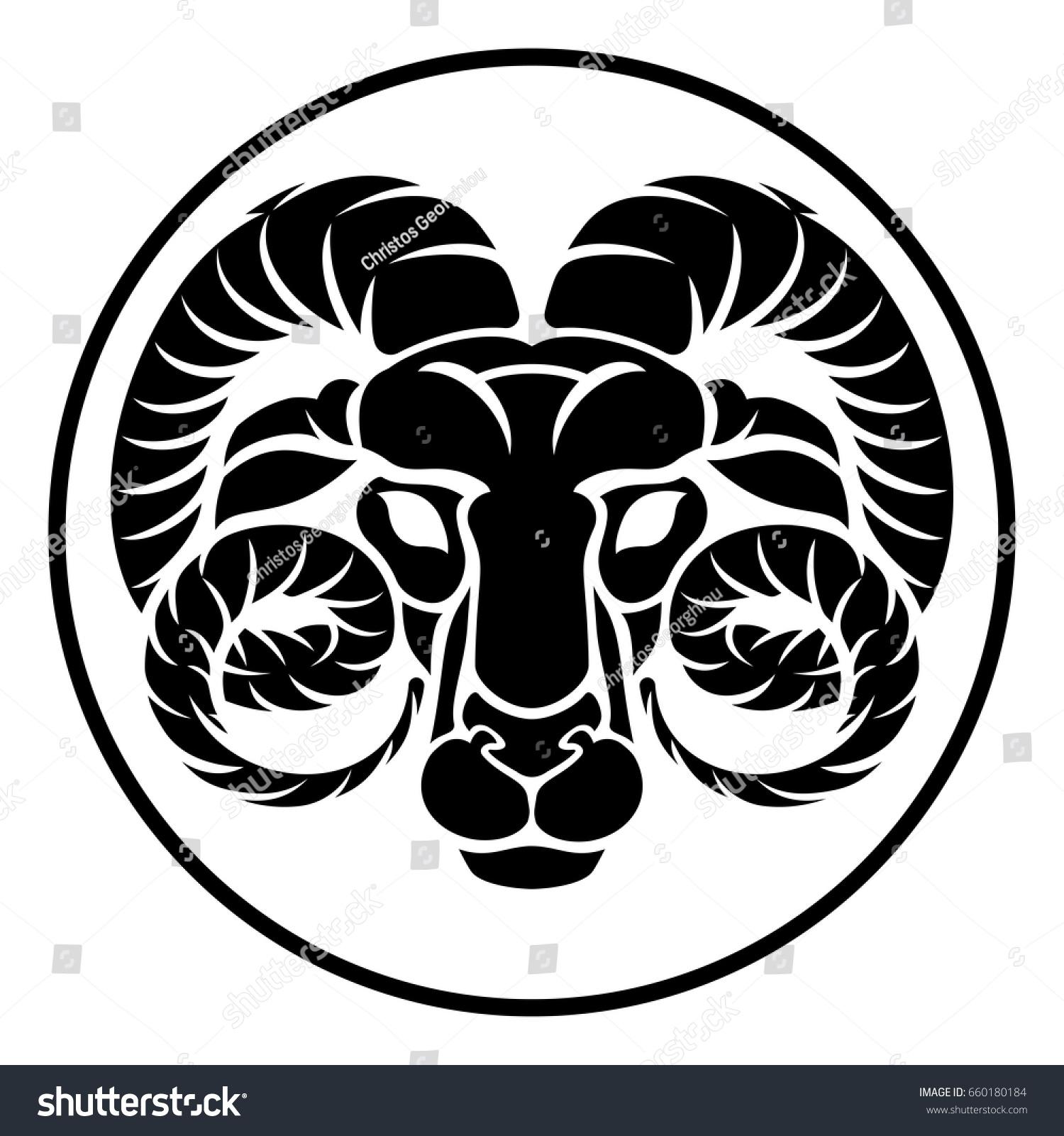 Circular Aries Ram Horoscope Astrology Zodiac Stock Vector Royalty