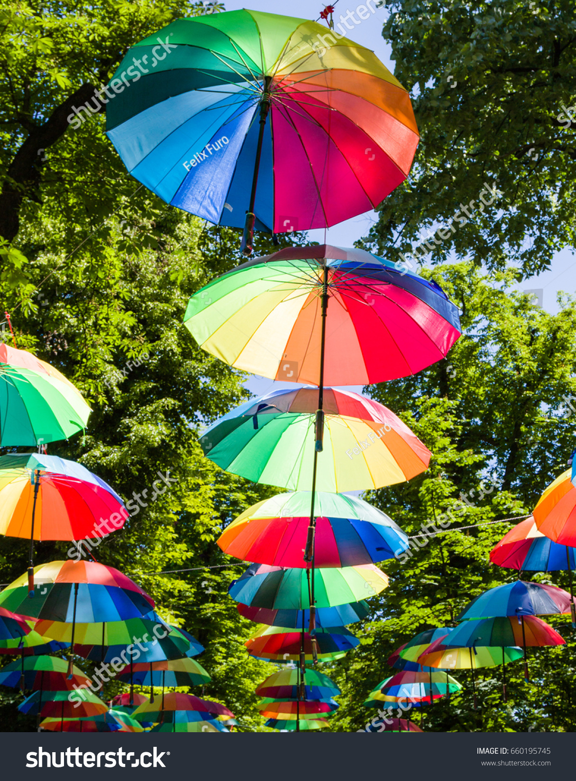 Open Color Decoration Umbrellas On Green Stock Photo (Edit Now ...