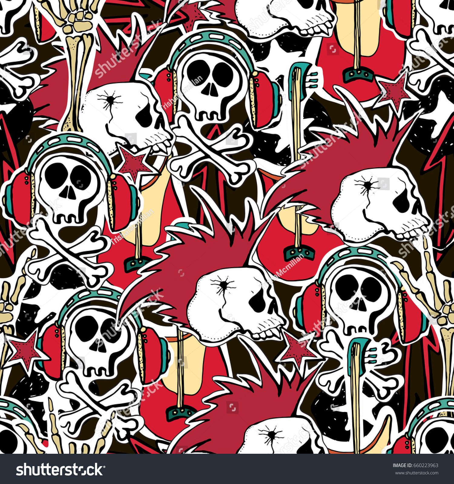 Crazy Punk Rock Abstract Background Skulls Stock Illustration