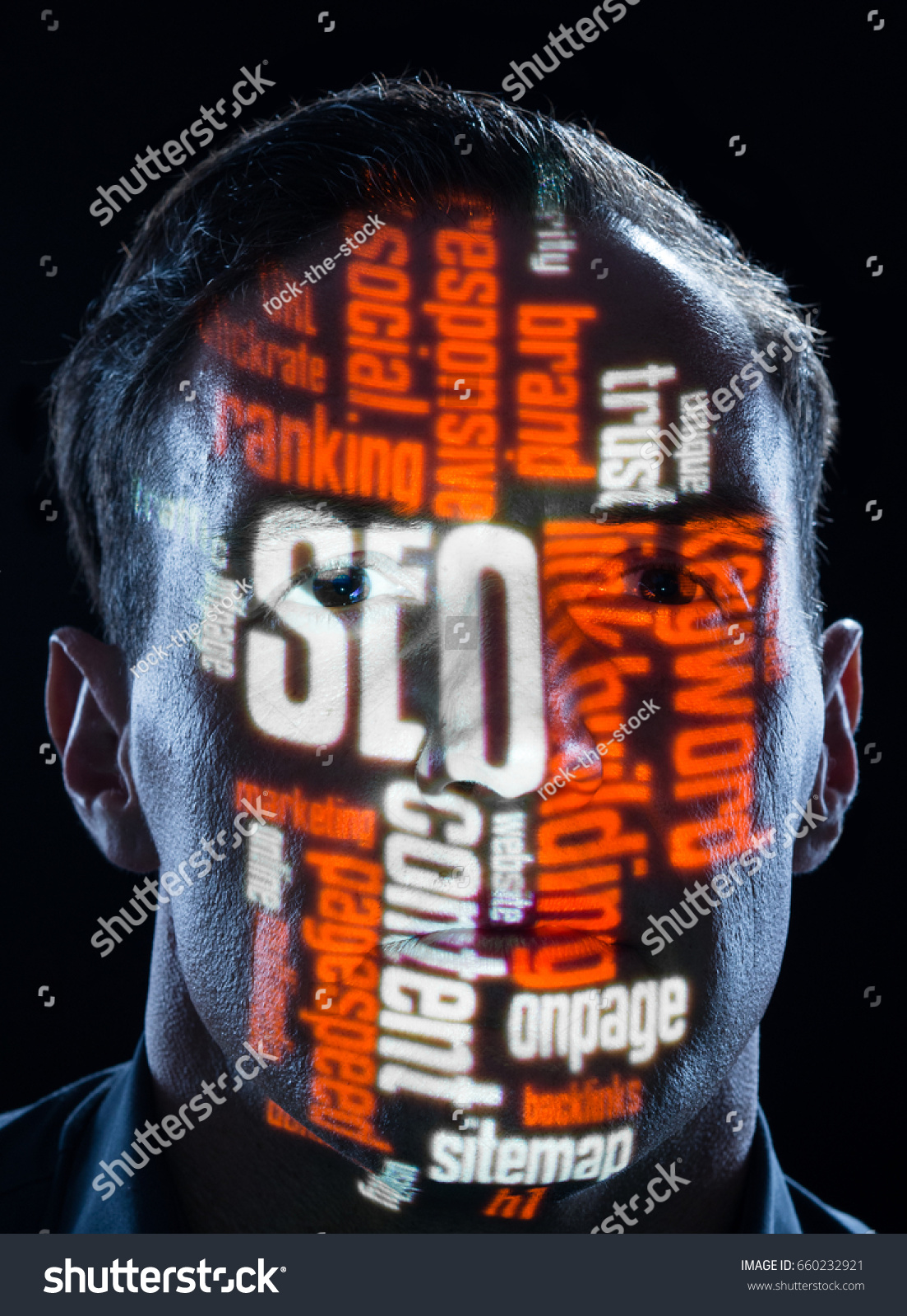 Seo Search Engine Optimization Keywords Face Stock Photo