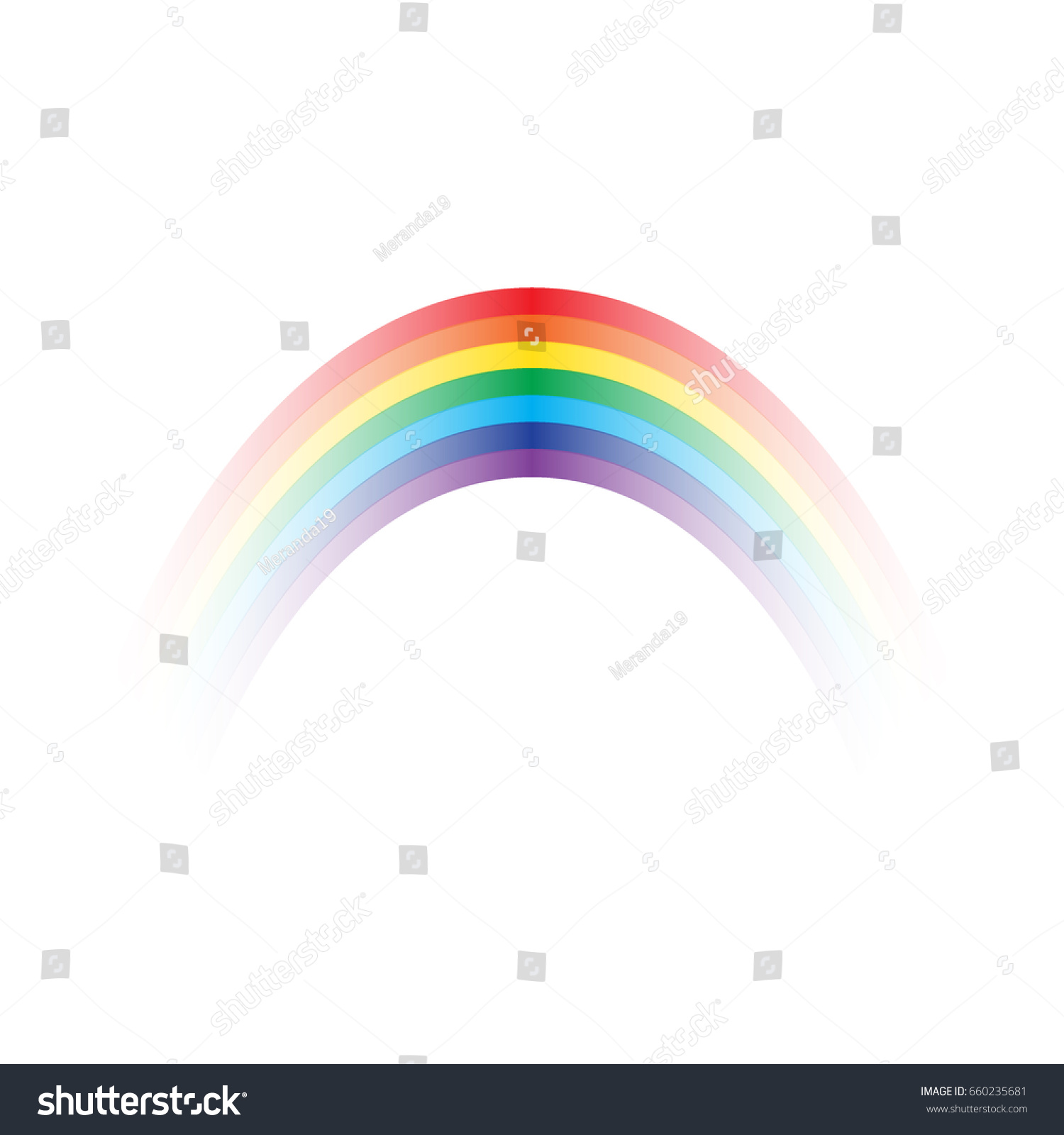 rainbow icon isolated on transparent background stock vector