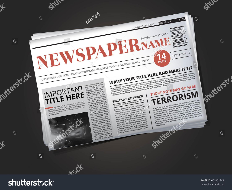 Half Newspaper Template Headline Vector Illustration Vector – Newspaper Headline Template