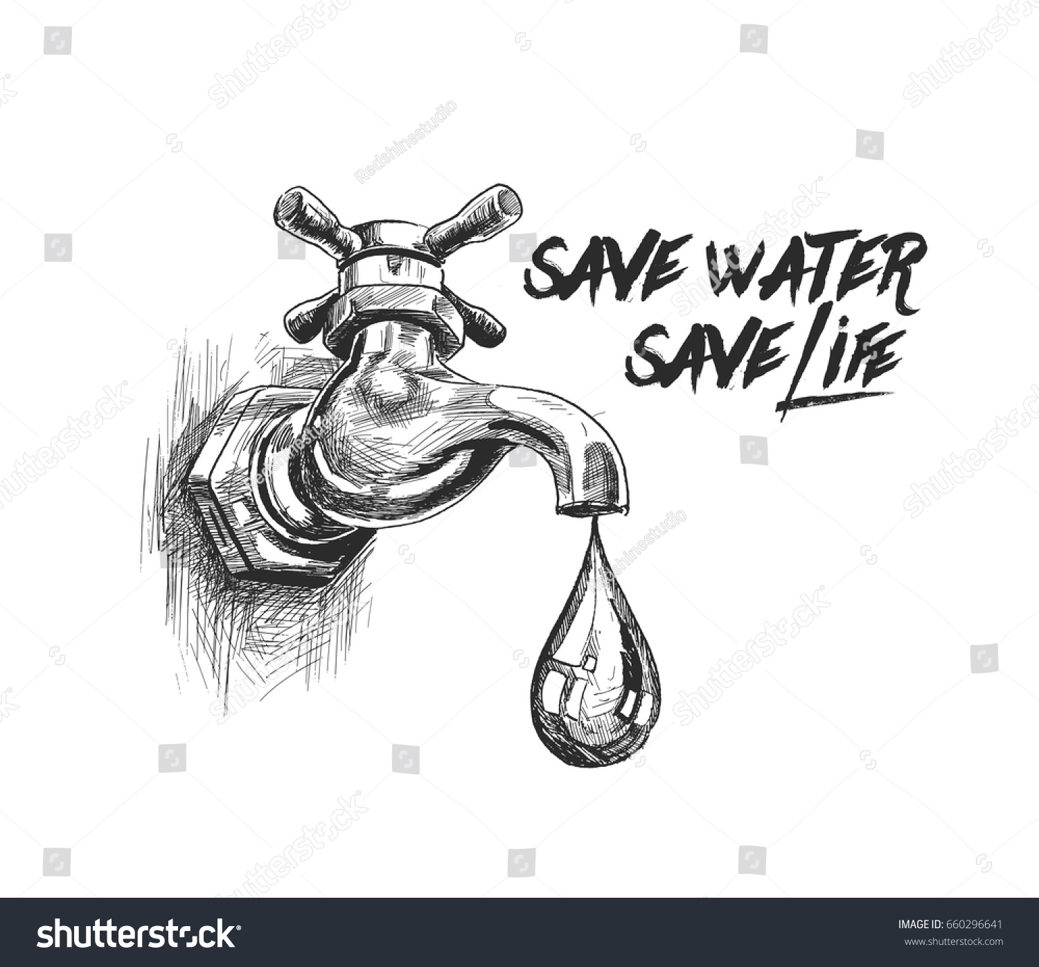 Tap drop save water save life stock vector royalty free