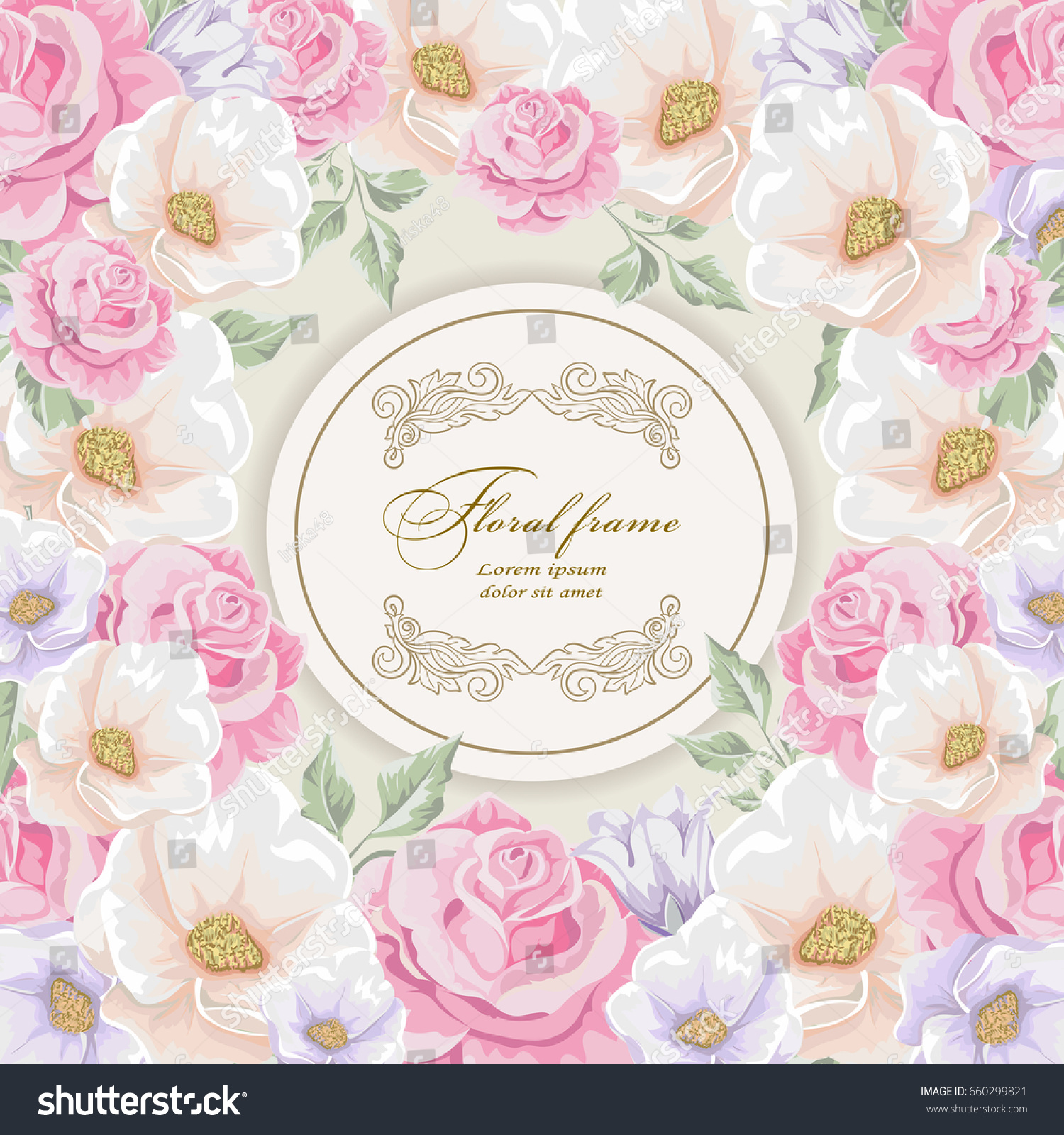 Greeting Card Bouquet Flowers Wedding Birthday Stock Vector Royalty