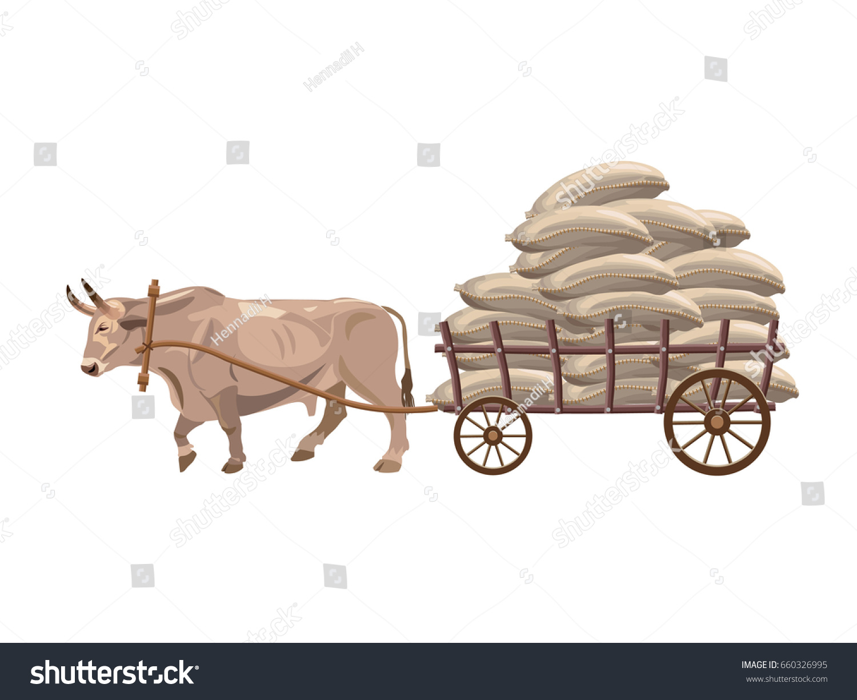 Cow Cart Clipart Bull Pulls Cart Sacks ...
