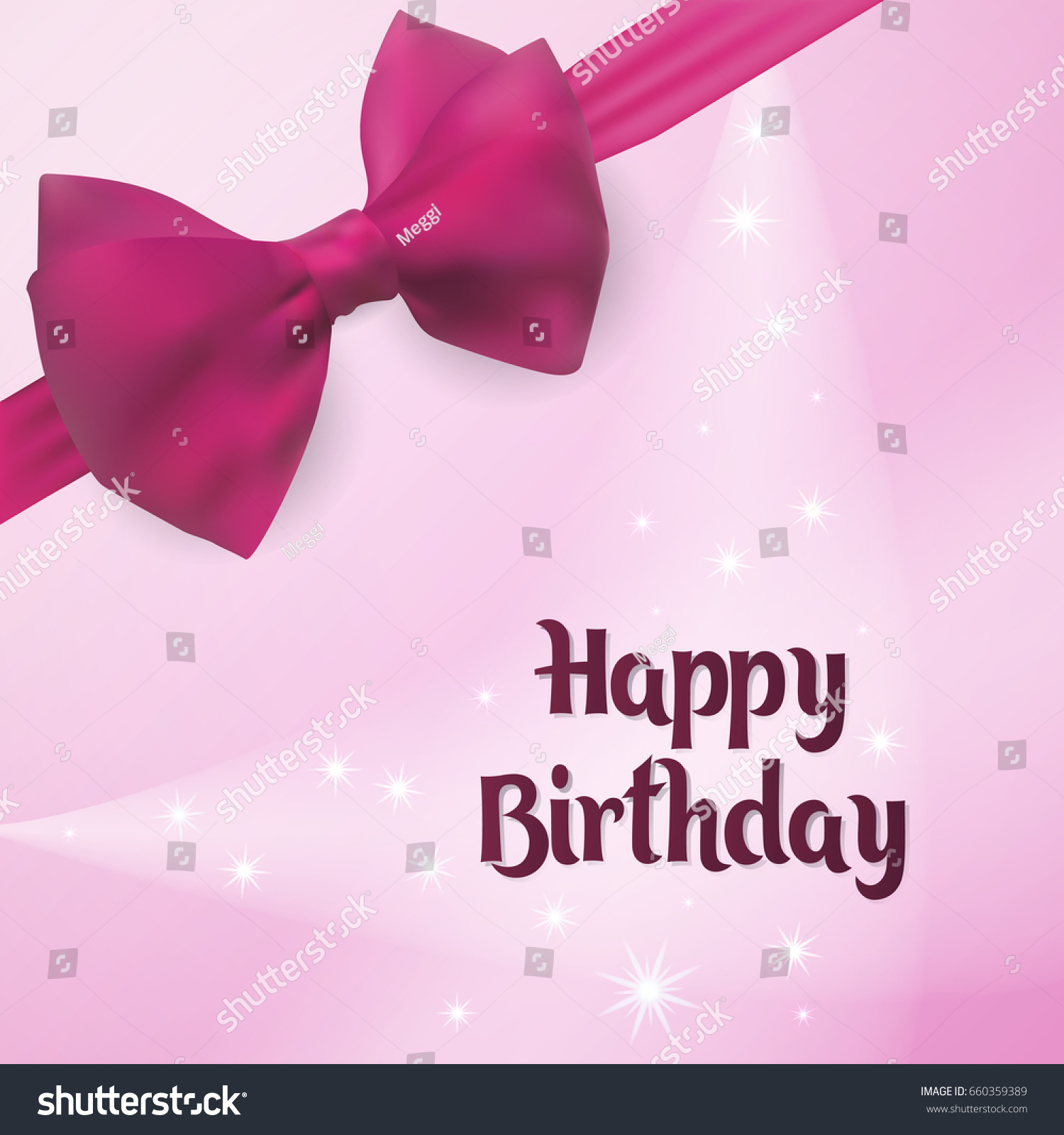Happy Birthday Birth Greeting Card Vector Illustration Backlight On The Background Decorated With Pink