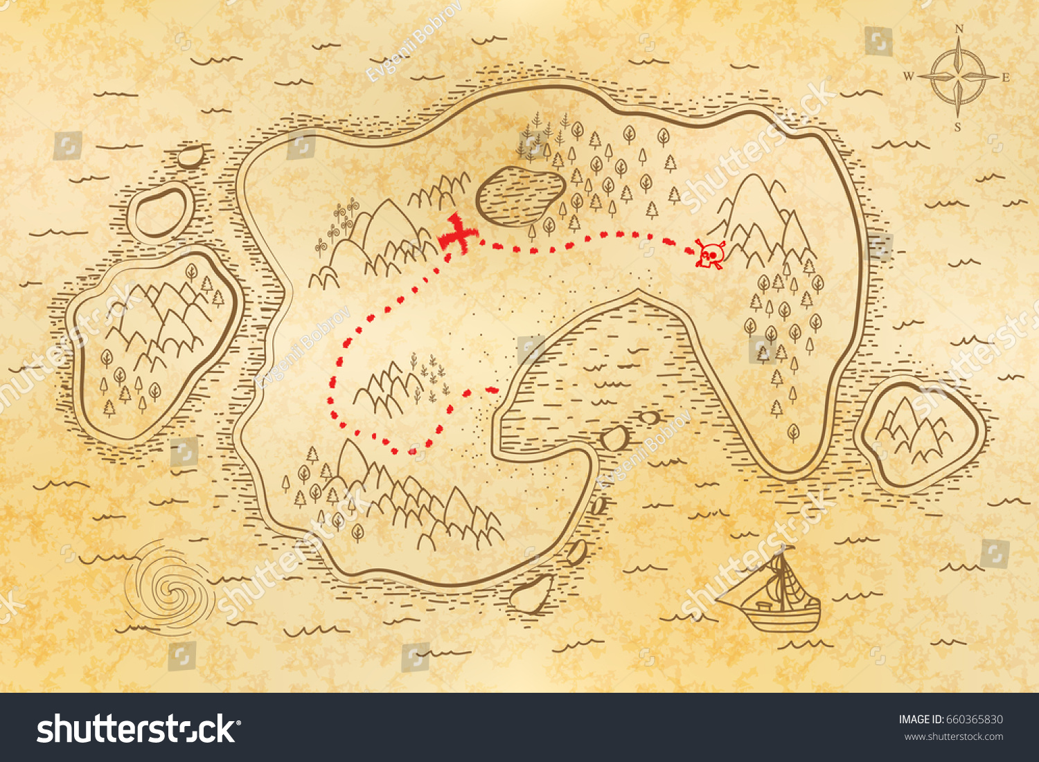 ancient pirate map on old textured stock vector 660365830