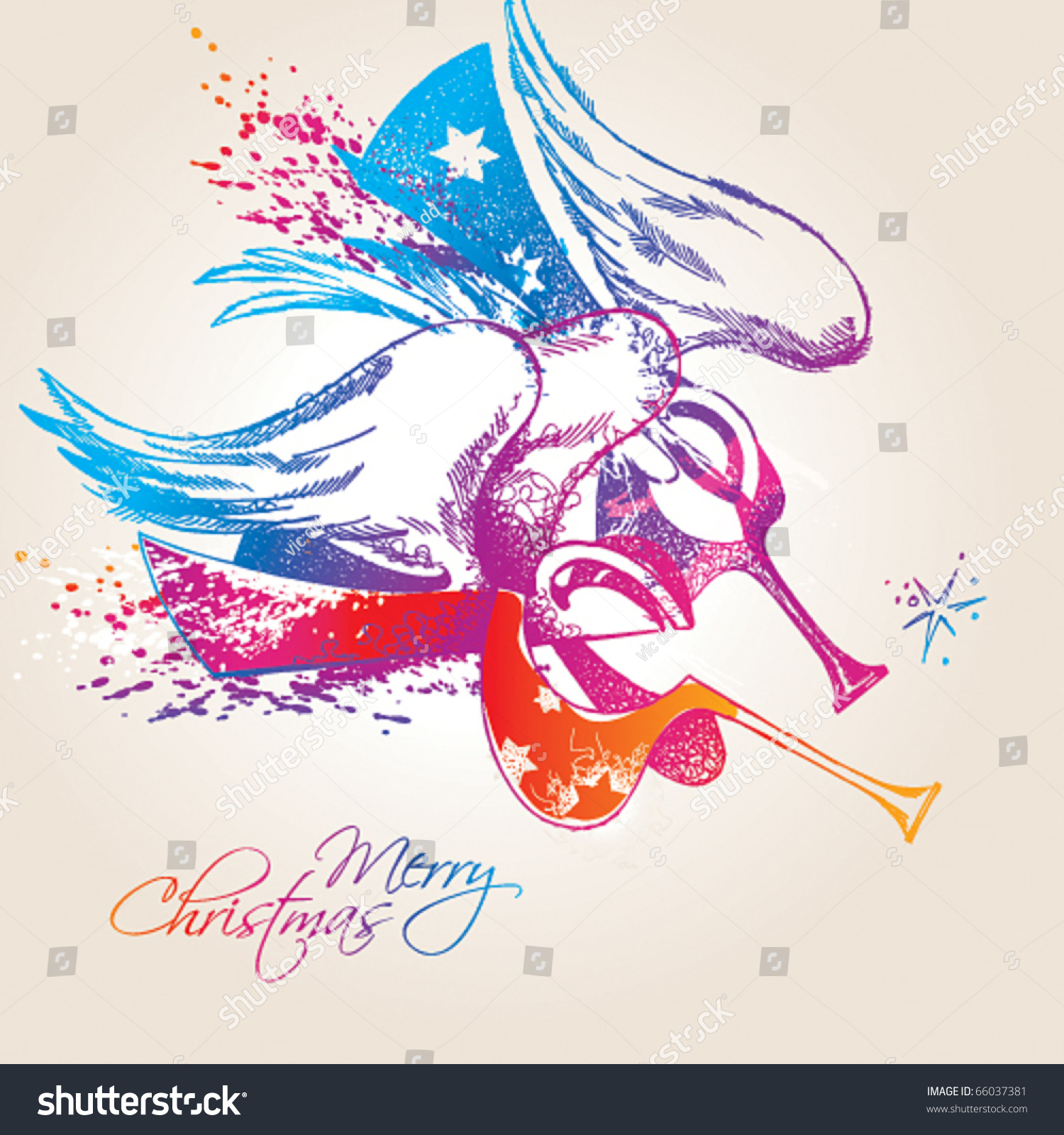 A colorful christmas angels with drops and sprays on