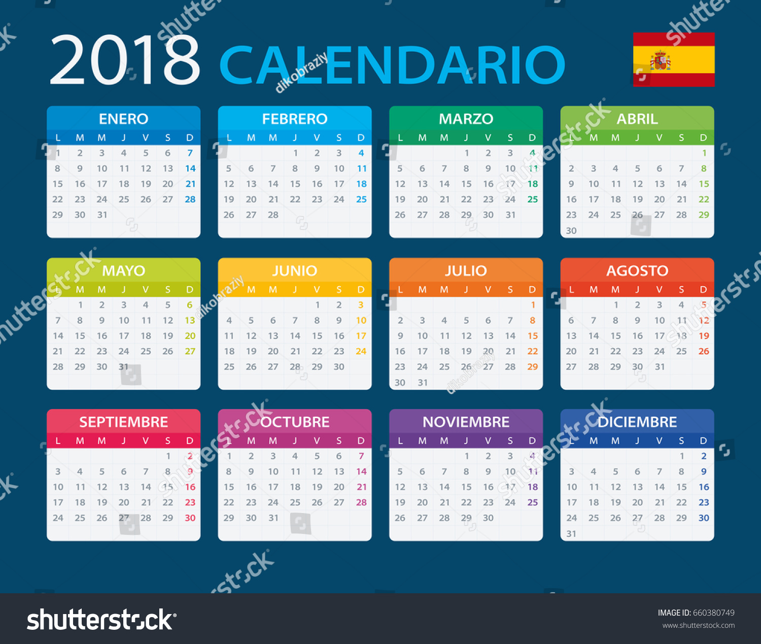 calendar 2018 spanish version vector illustration