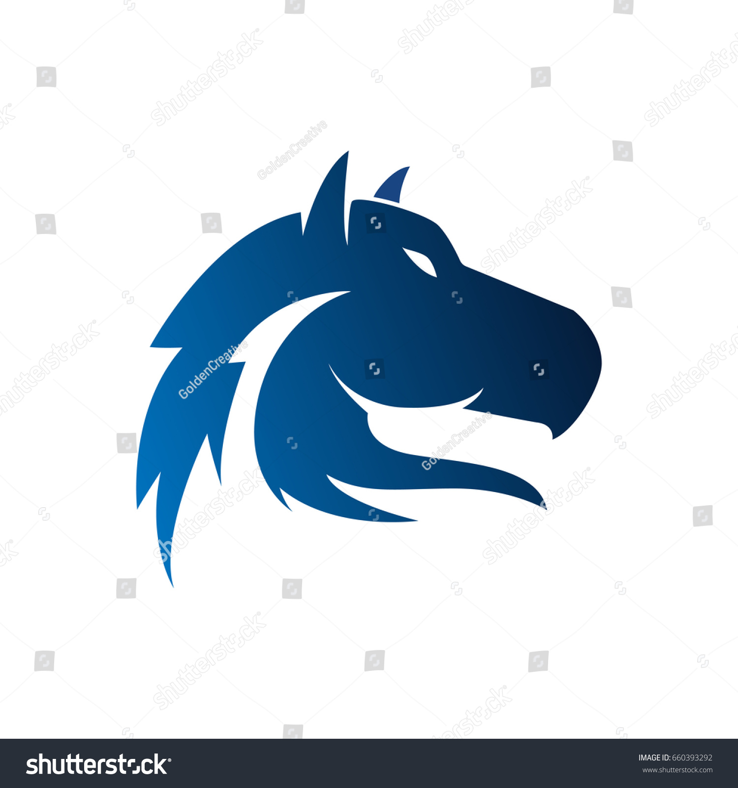 Horse Head Logo Template Stock Vector Royalty Free 660393292