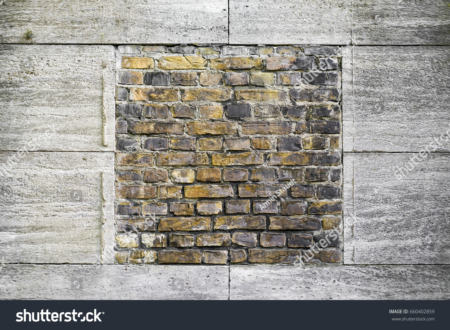 Yellow Brick Wall Framed By Granite Buildings Landmarks Stock Image 660402859