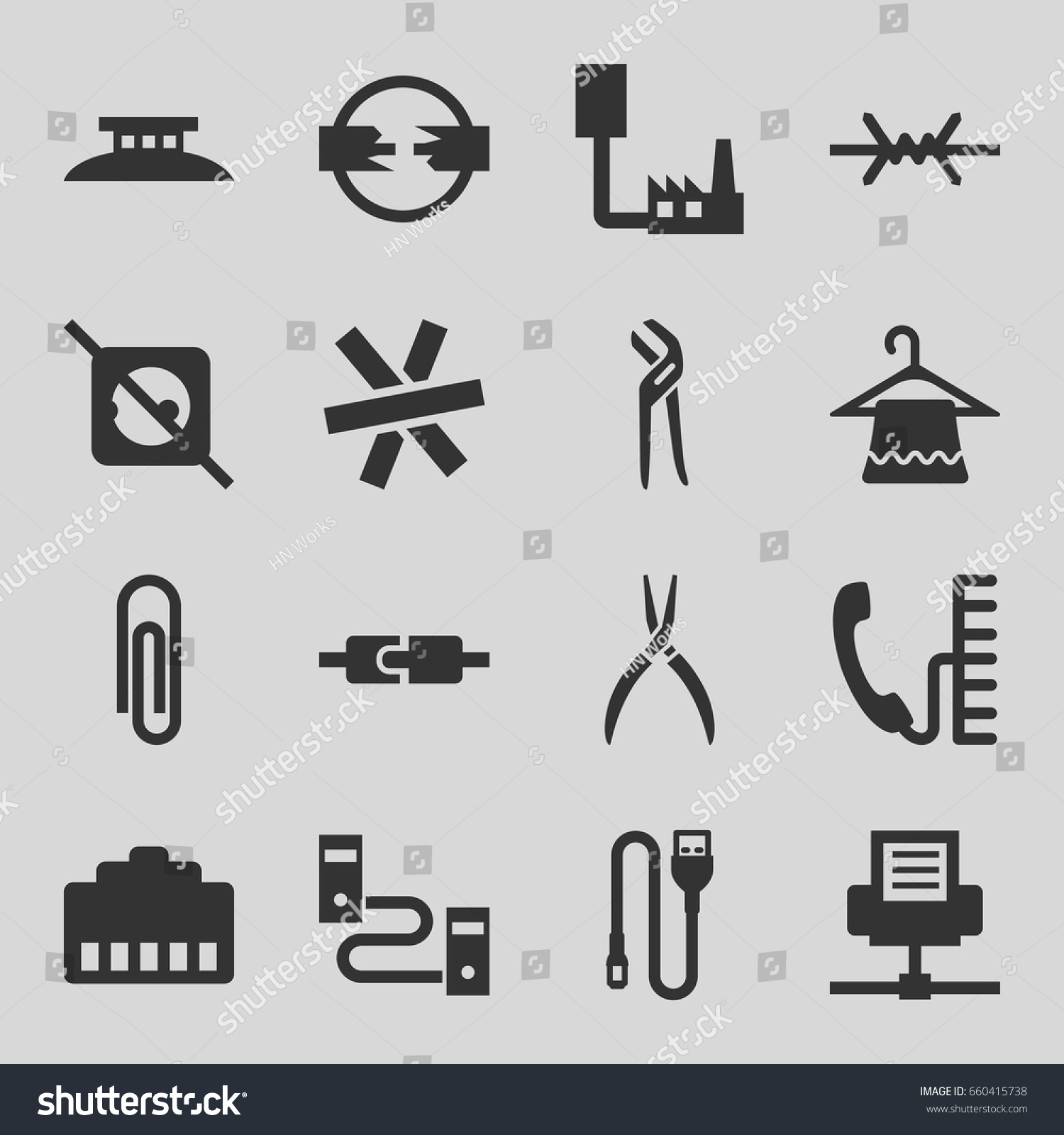 Wire Icons Set Set 16 Wire Stock Vector (Royalty Free) 660415738 ...