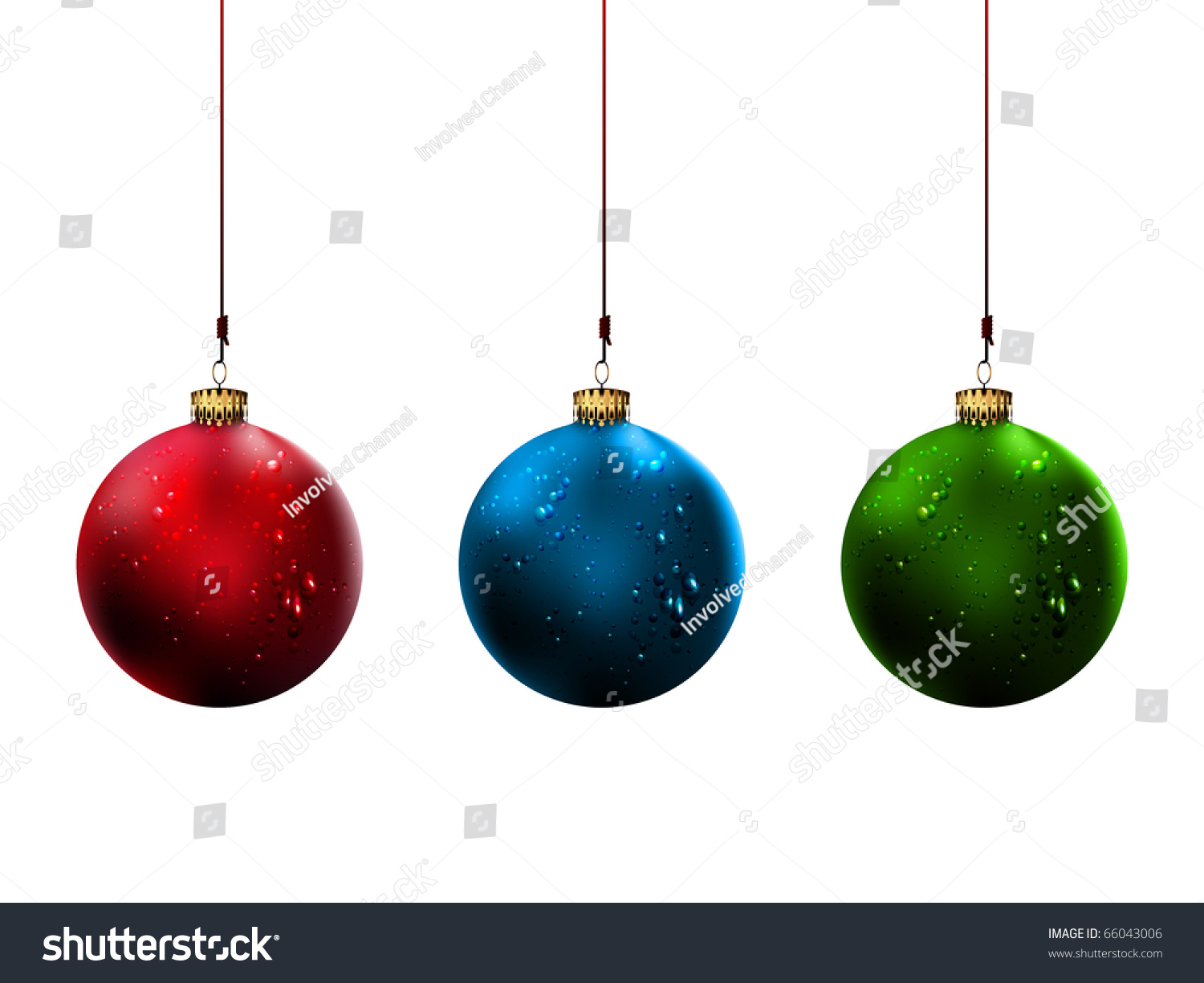 Christmas balls with shiny water drops isolated on white
