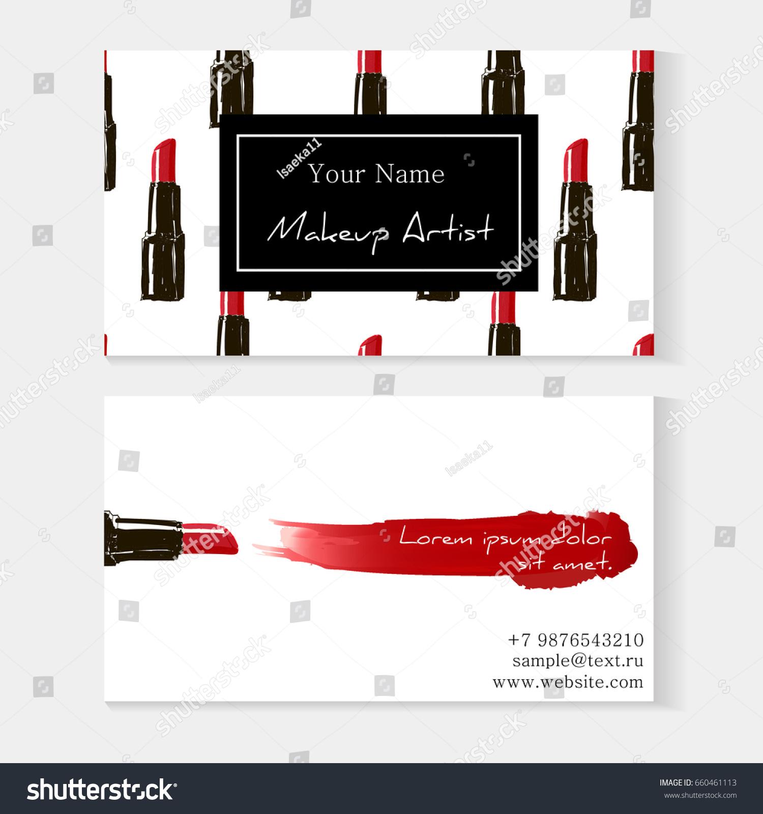 Makeup Artist Business Card Template Red Stock Vector (2018 ...