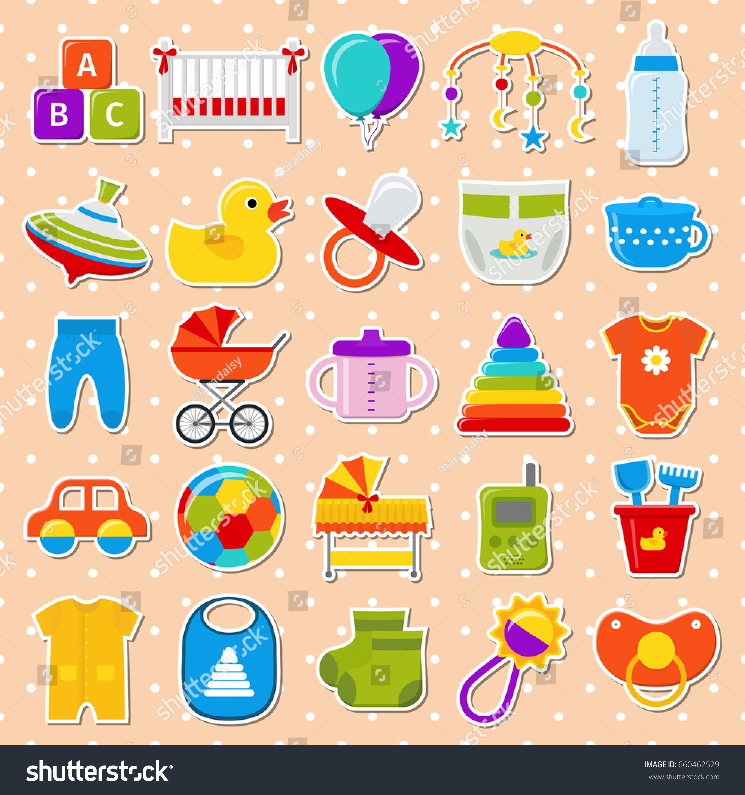 Baby Stickers Baby Shower Elements Isolated Stock Vector Royalty