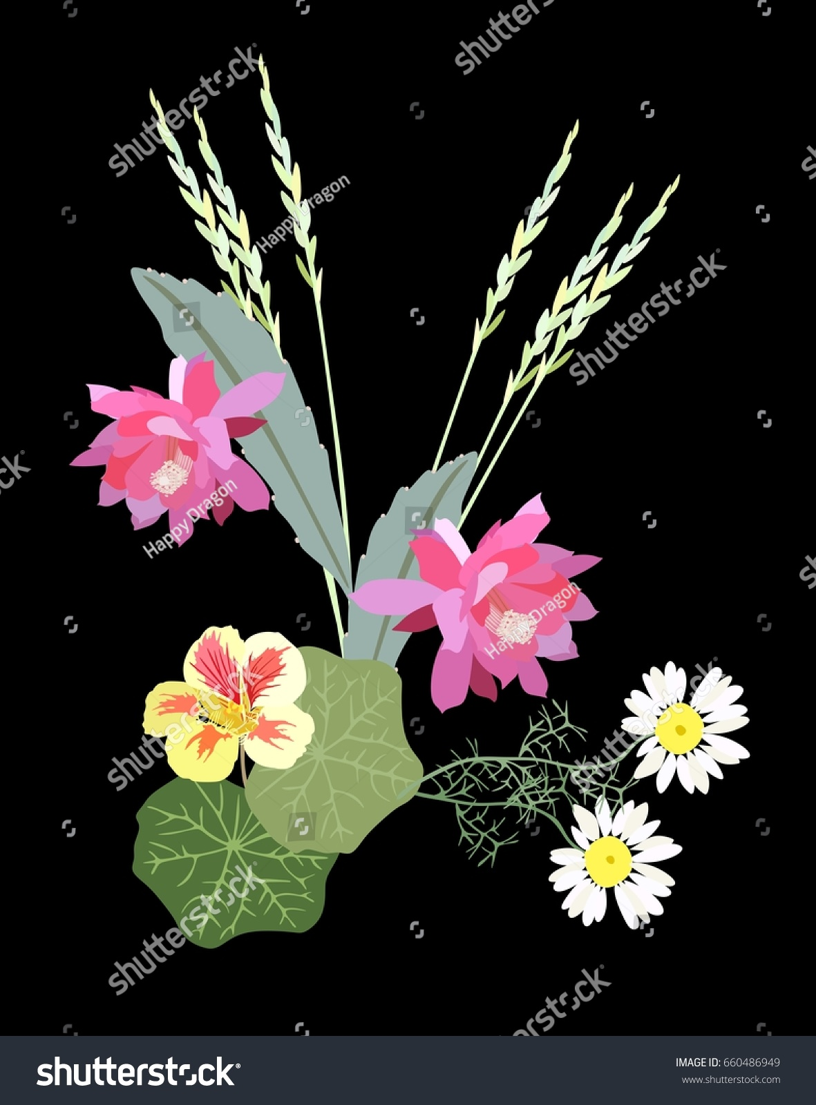 Cute Bouquet Flowers Country Style Beautiful Stock Vector 660486949 ...