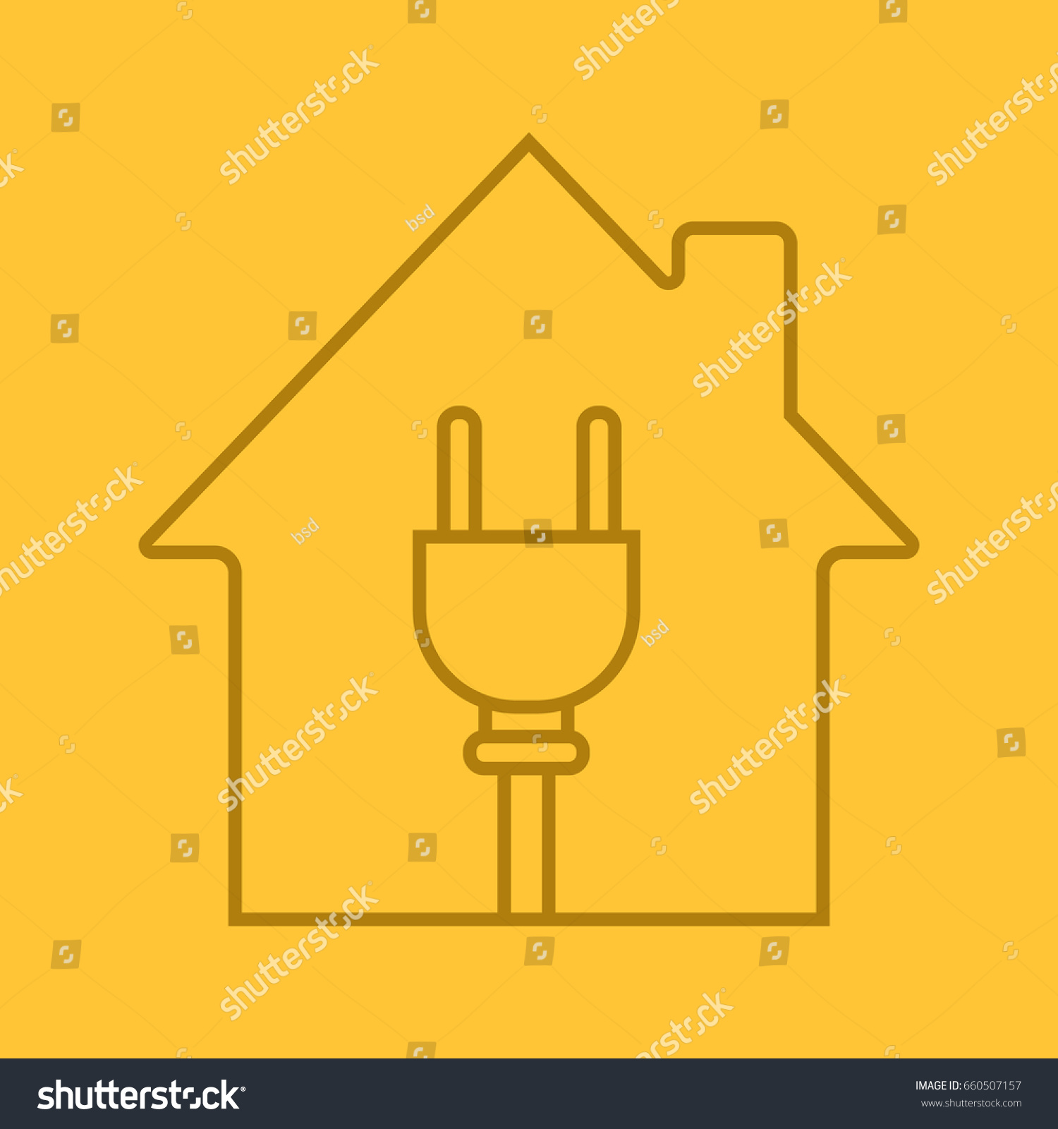 House Wire Plug Inside Linear Icon Stock Vector Royalty Free Wiring Symbols With Electric Utilities Home Electrification Thin Line