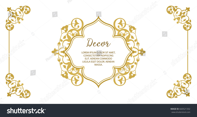 Text Greeting Card Vector Decorative Frame Elegant Gold