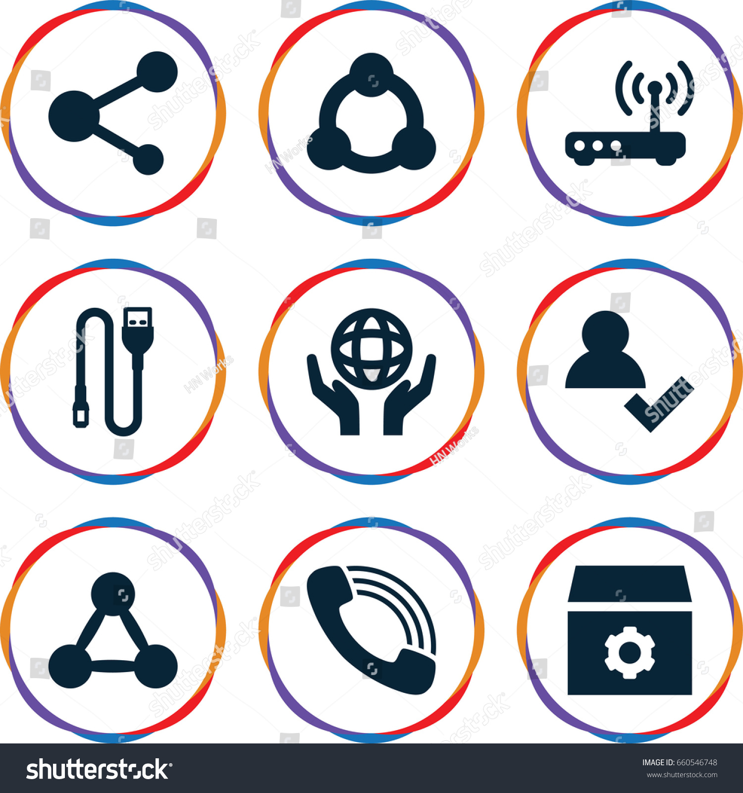 Connection Icons Set Set 9 Connection Stock Vector 660546748 ...