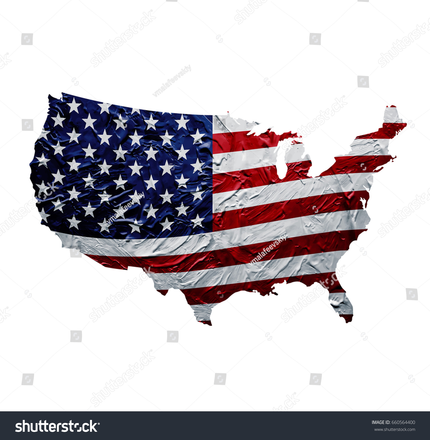 USA Map With Painted American Flag Texture