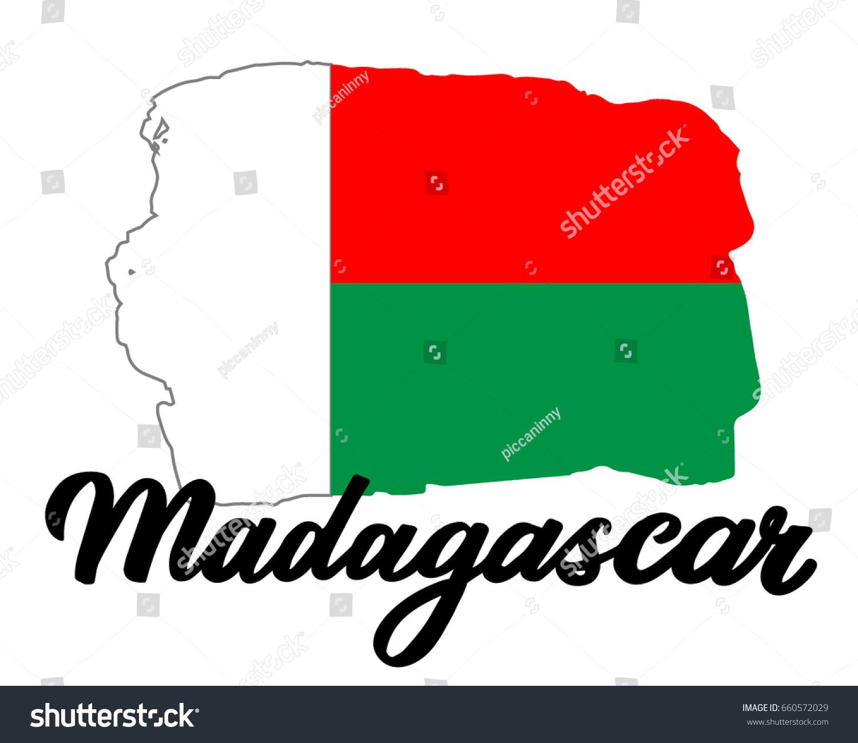 Madagascar Flag National Symbol Madagascar Lettering Stock Vector