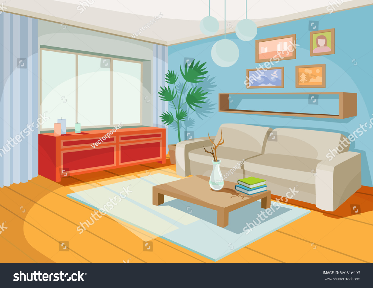 Vector illustration cozy cartoon interior home for Sala de estar animada