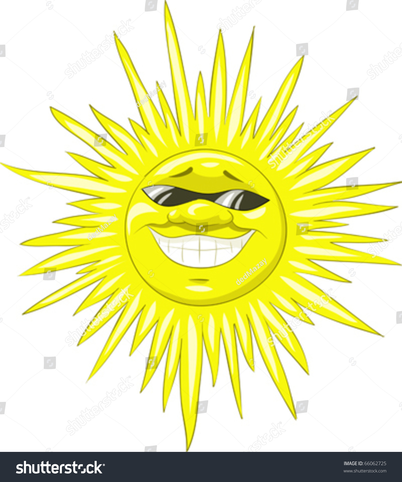 Smiling sun with sunglasses - A Smiling Sun Wearing Sunglasses Vector Illustration