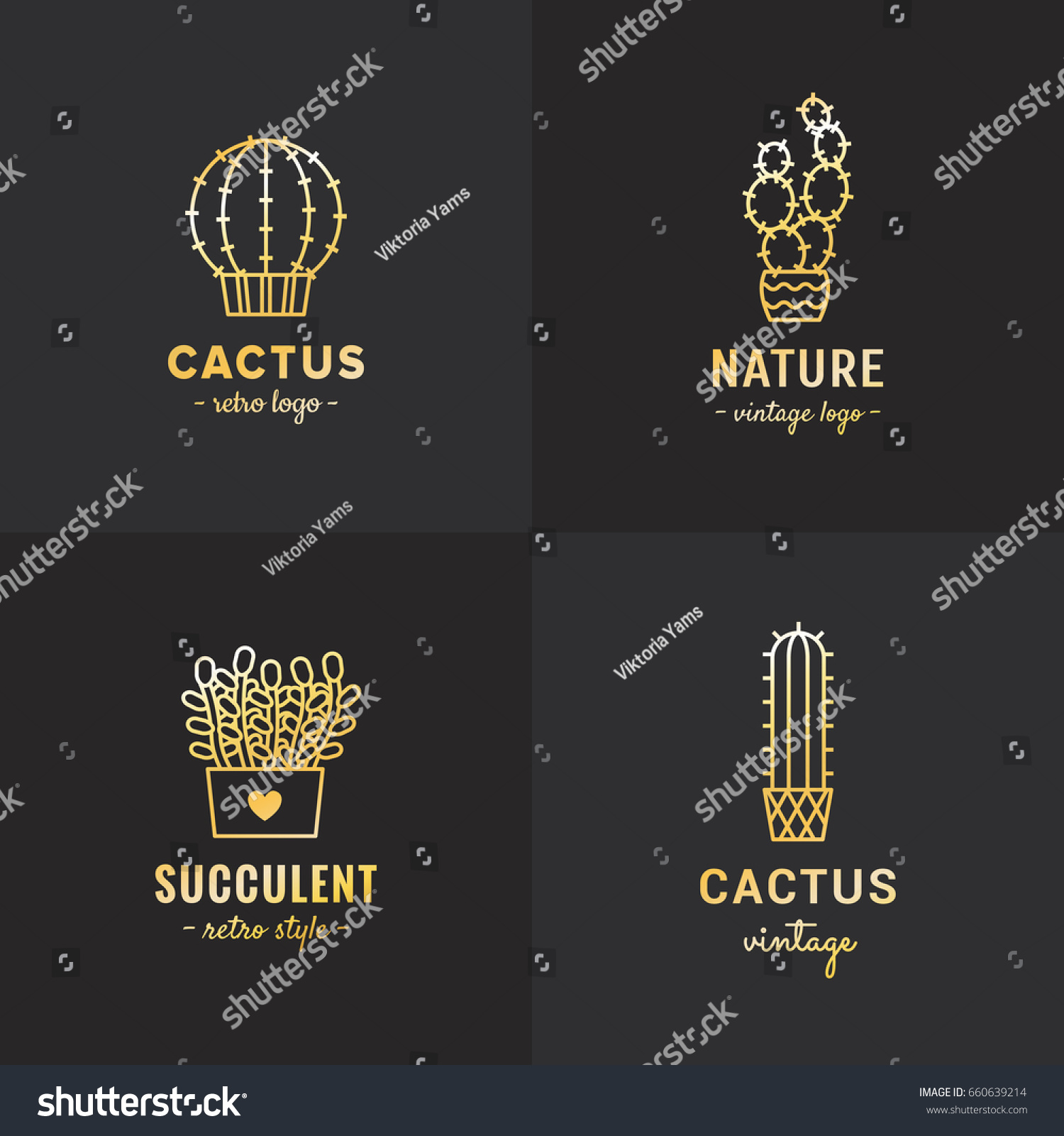 Succulents Cacti Gold Vector Set Hipster Stock Vector HD (Royalty ...