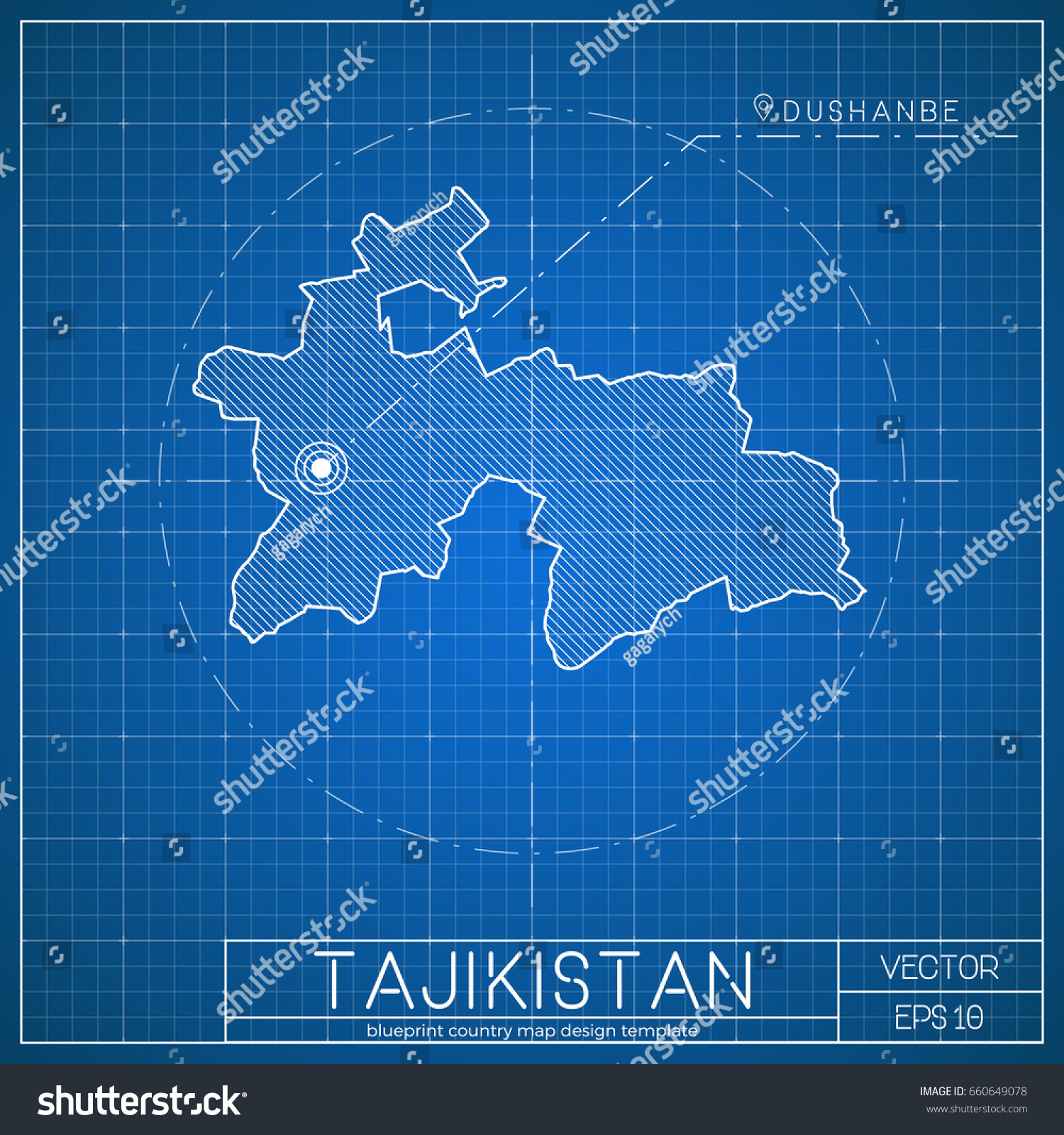 Tajikistan Blueprint Map Template Capital City Stock Vector - Tajikistan map vector