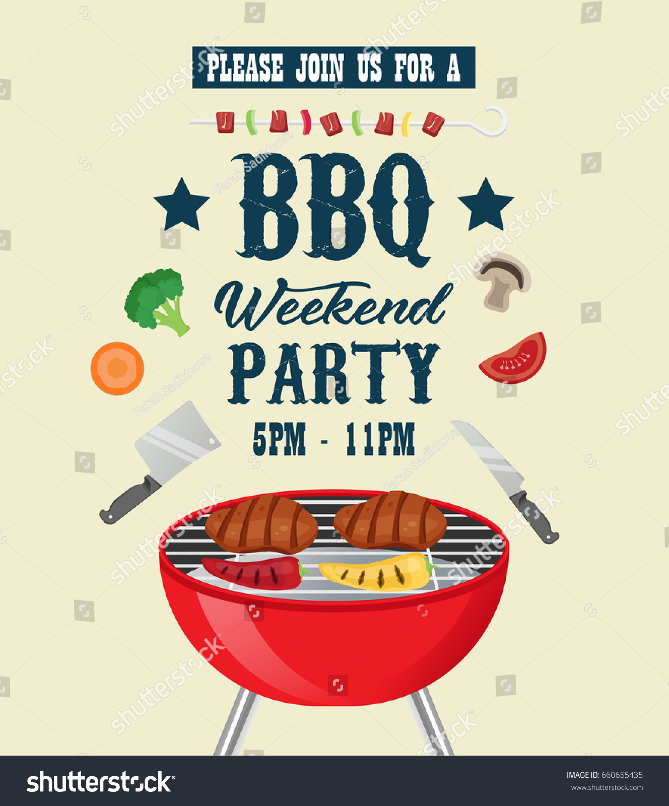 barbecue party invitation template bbq party stock vector 660655435