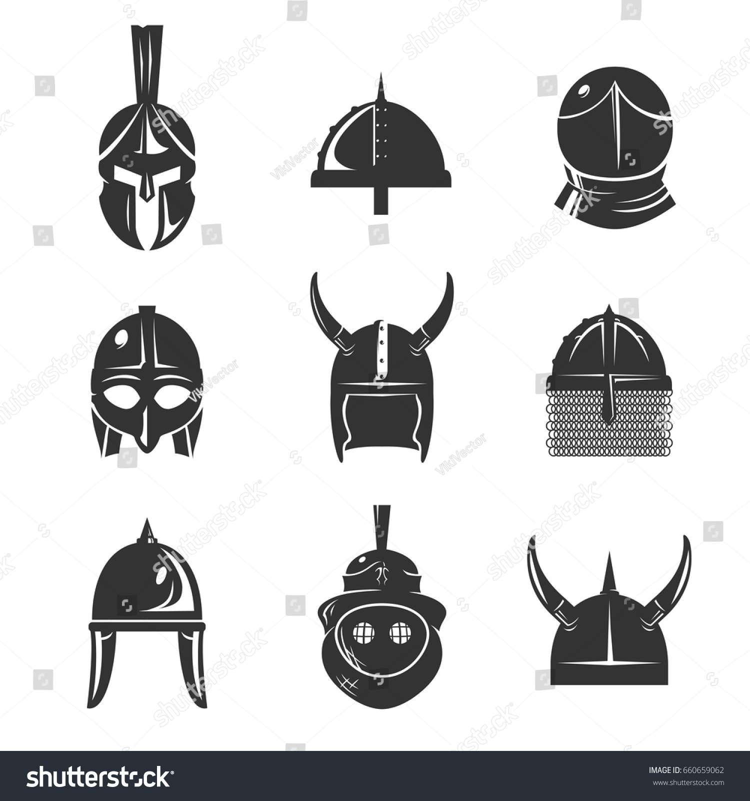 Warrior Helmet Icon Set Old Conical Stock Vector Royalty Free