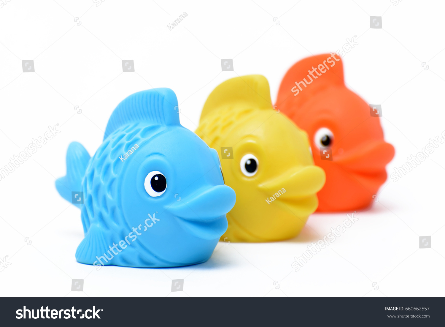 Multicolored Rubber Toy Fish On White Stock Photo (Edit Now ...