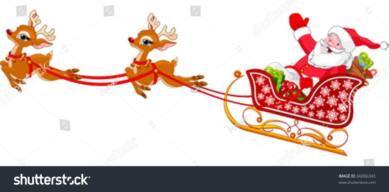 cartoon illustration santa claus his sleigh stock vector royalty