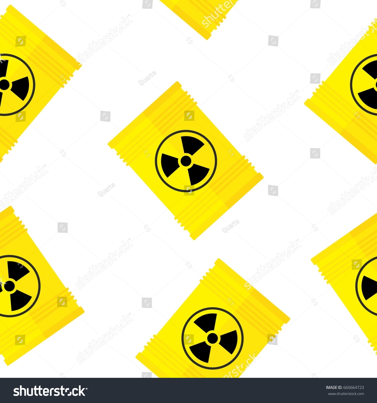 Seamless Pattern Yellow Barrel Nuclear Radioactive Stock Vector