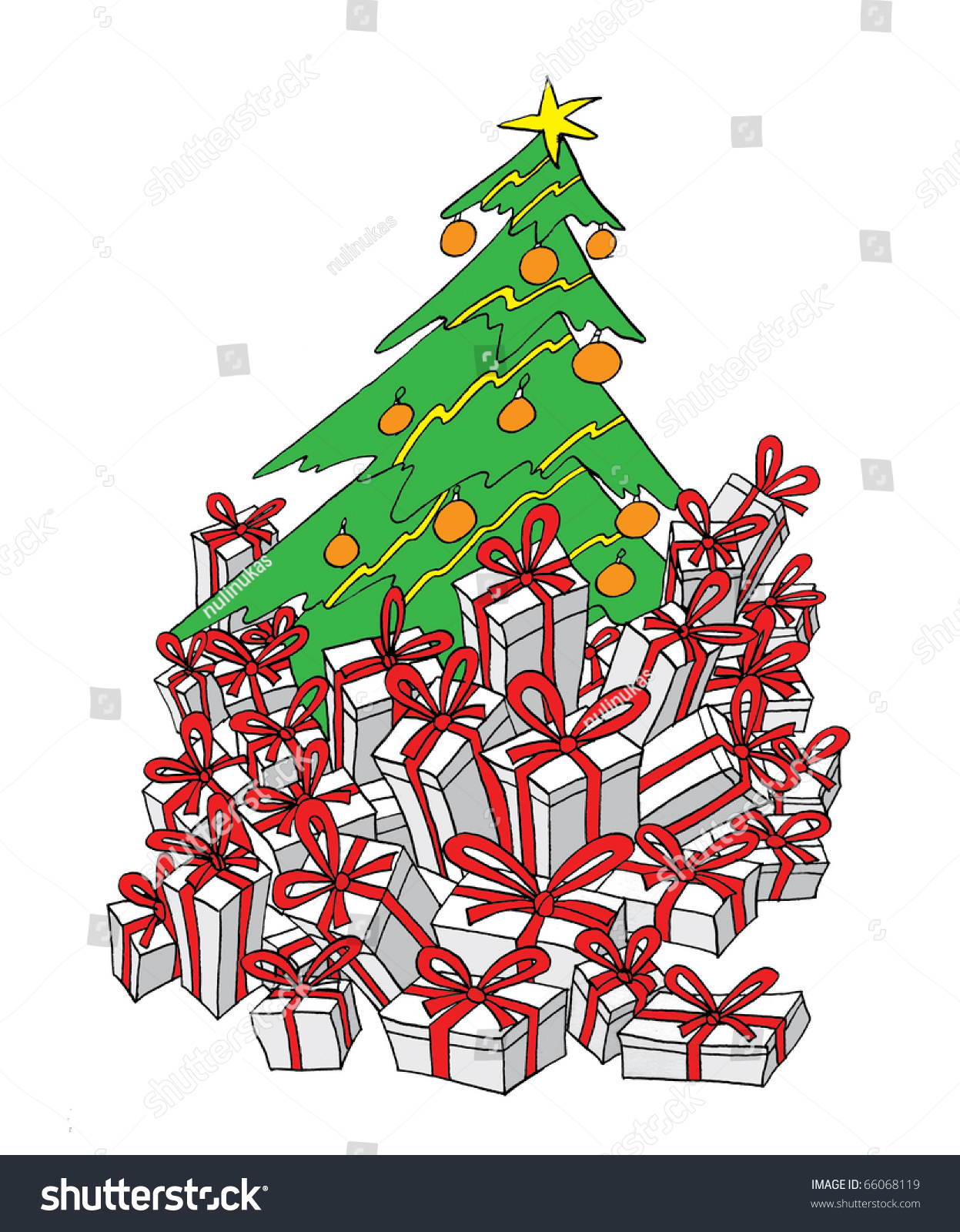 green christmas tree gifts stock illustration 66068119