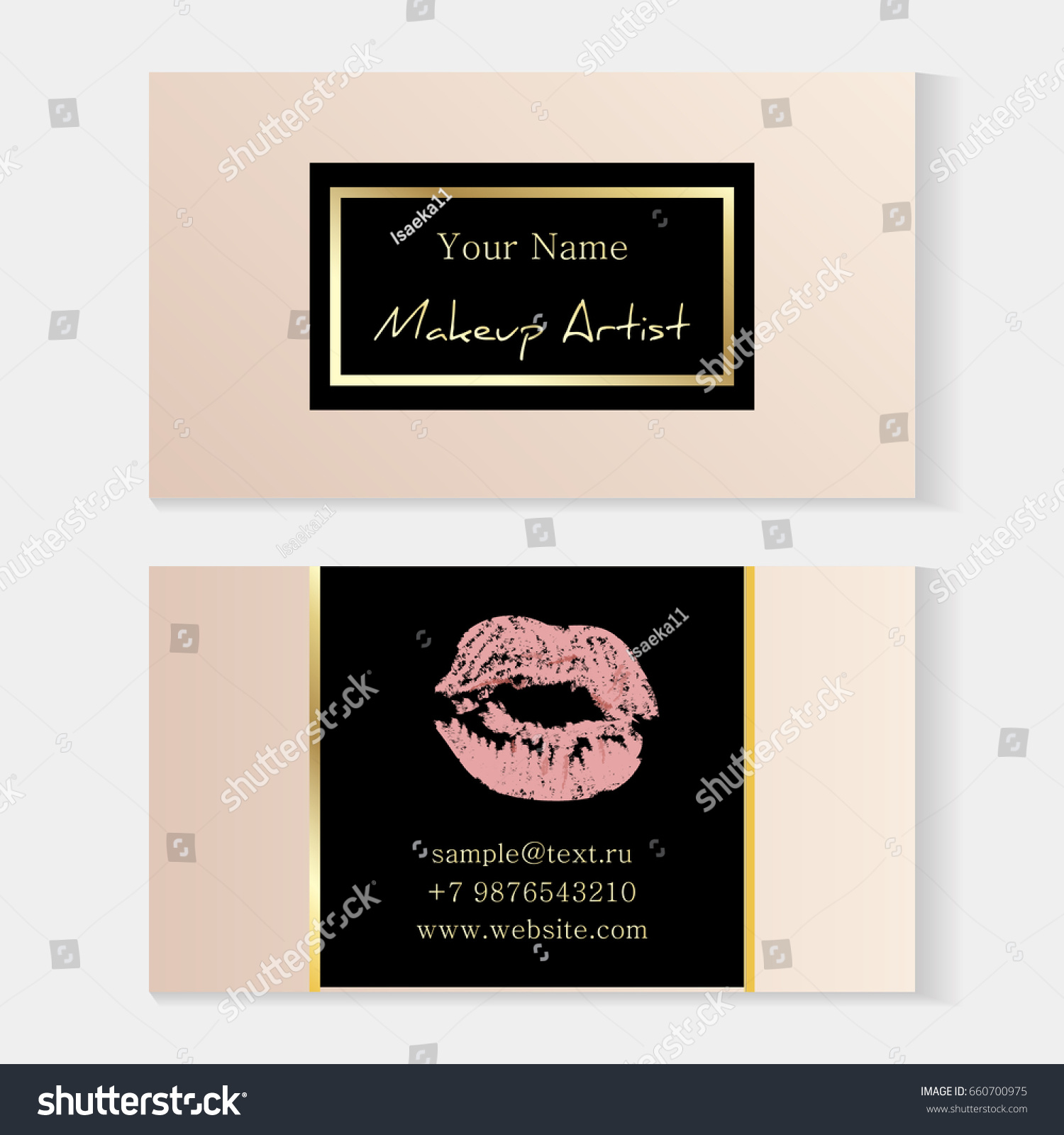 makeup artist stylish business card artistic stock vector royalty