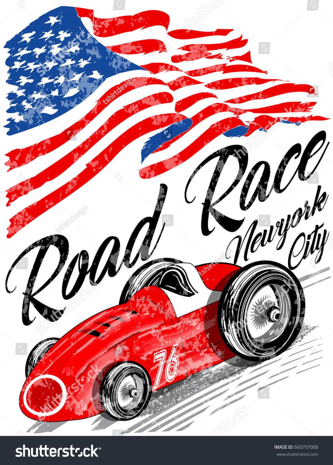Vintage Race Car Printing Vector Old Stock Vector 660707008 ...