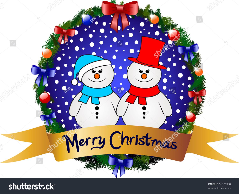 Merry Christmas Greeting Card Snowman Stock Vector 66071998 ...