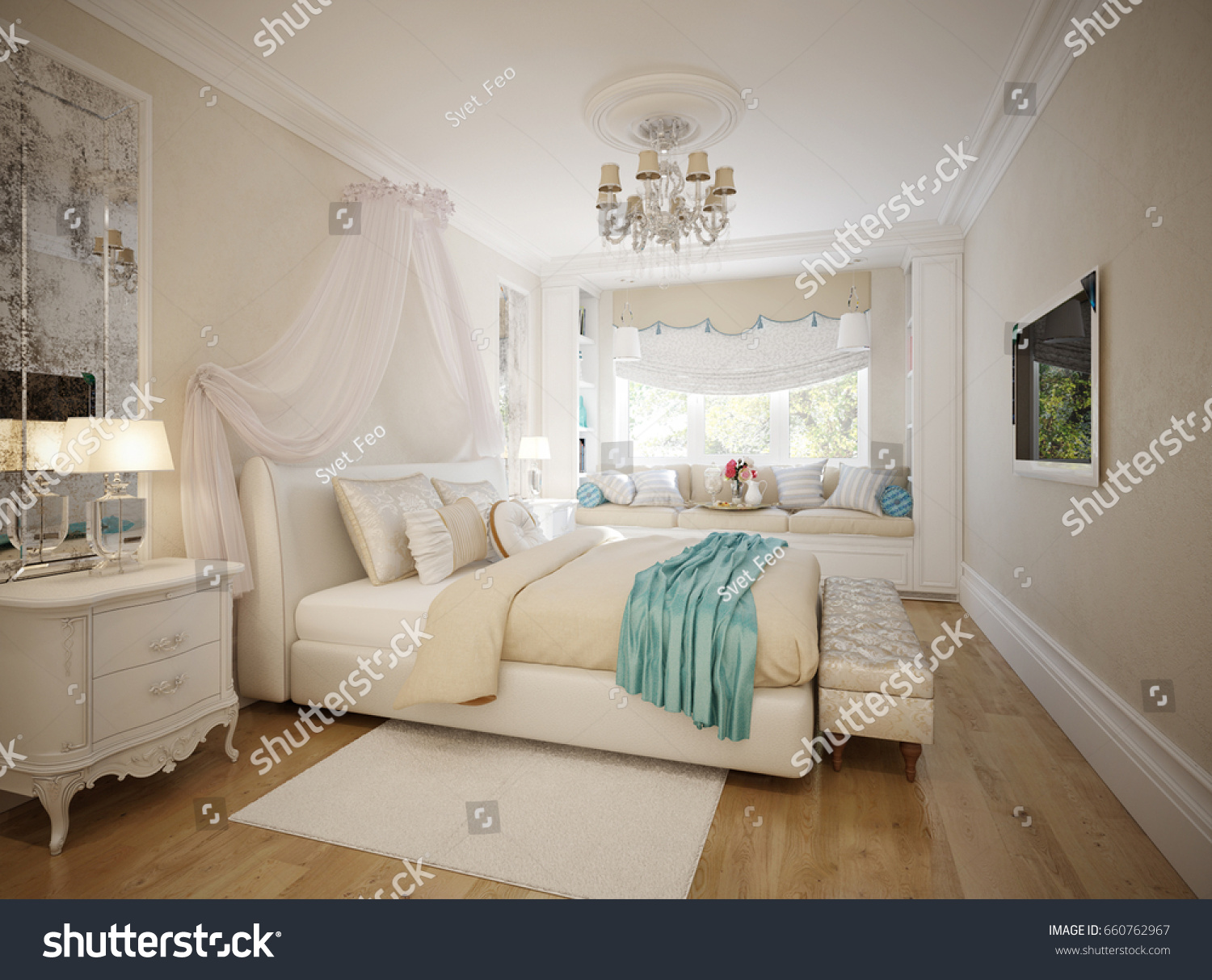 Traditional Classic Modern Provence Bedroom Interior Design With White  Furniture, Aged Mirrors And Broad Window